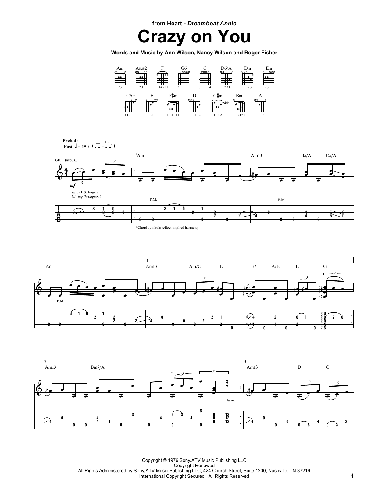 Crazy On You (Guitar Tab)