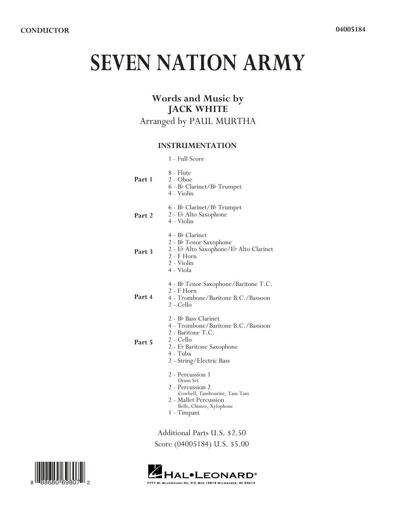 Seven Nation Army (COMPLETE) sheet music for concert band by White Stripes, Jack White and Paul Murtha. Score Image Preview.