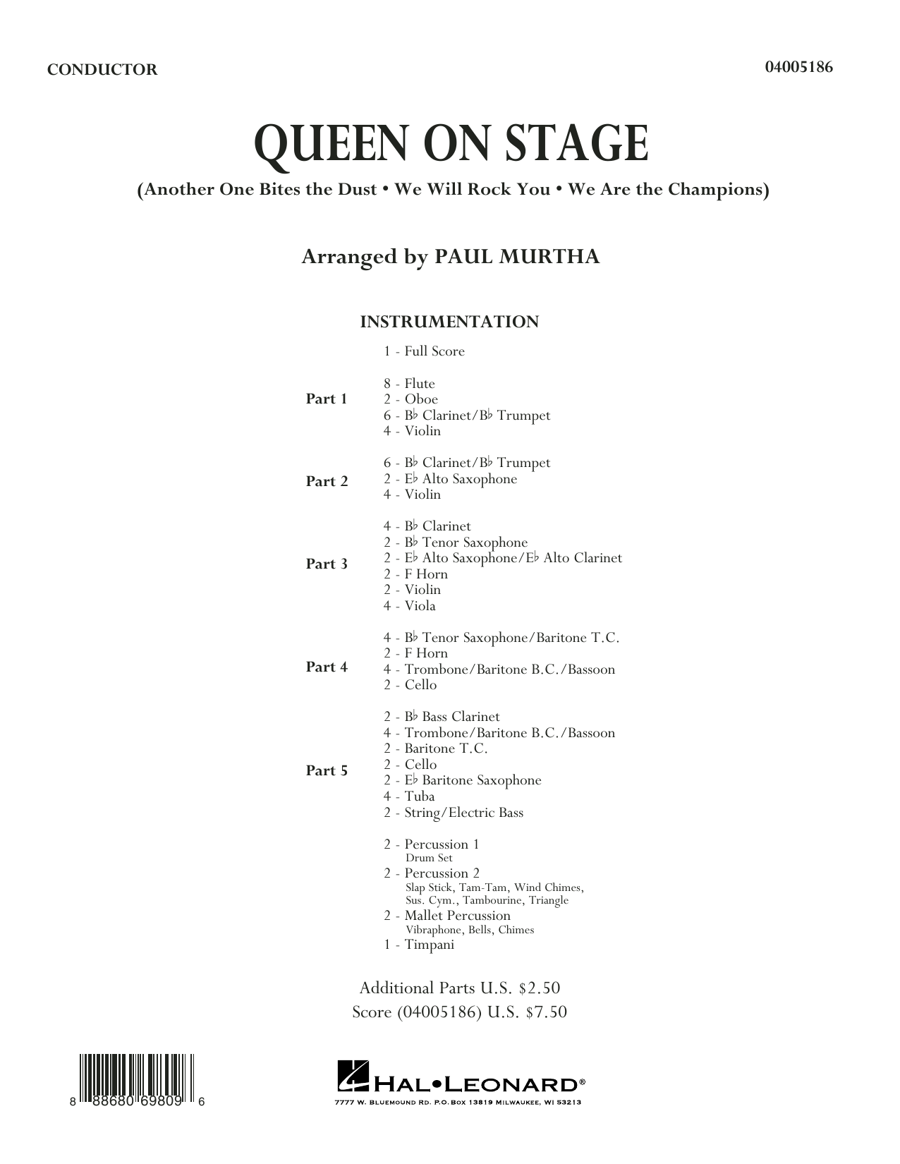 Queen On Stage (COMPLETE) sheet music for concert band by Paul Murtha. Score Image Preview.