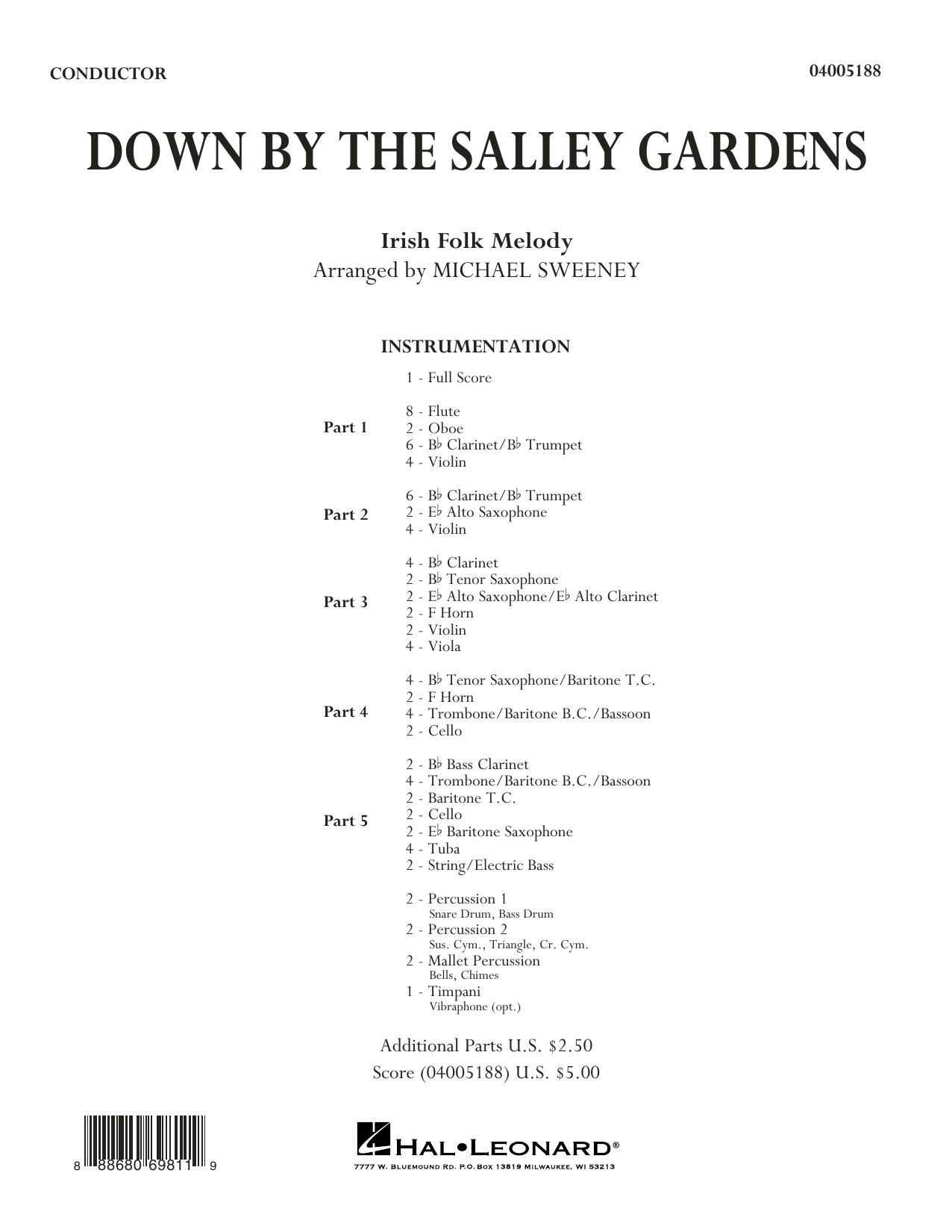 Down by the Salley Gardens (COMPLETE) sheet music for concert band by Michael Sweeney. Score Image Preview.
