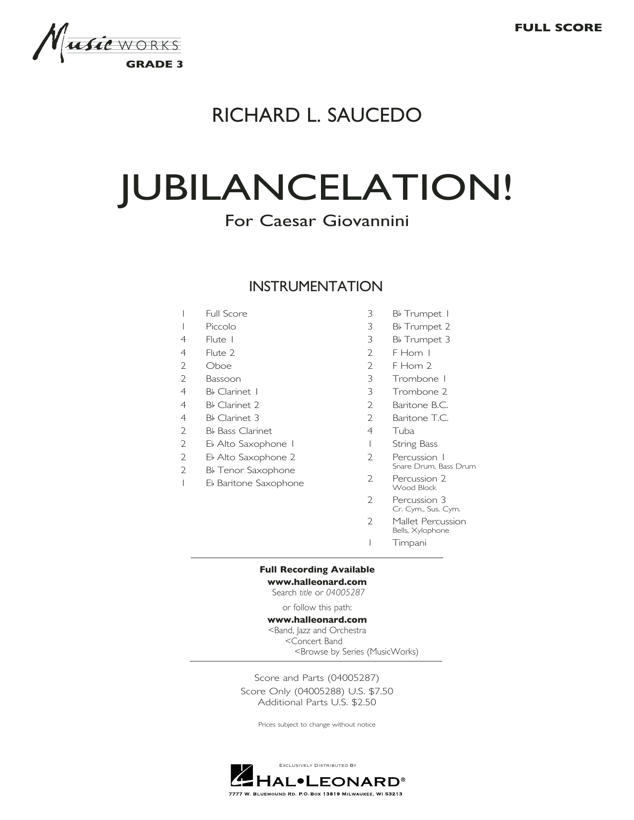 Jubilancelation! (COMPLETE) sheet music for concert band by Richard L. Saucedo. Score Image Preview.