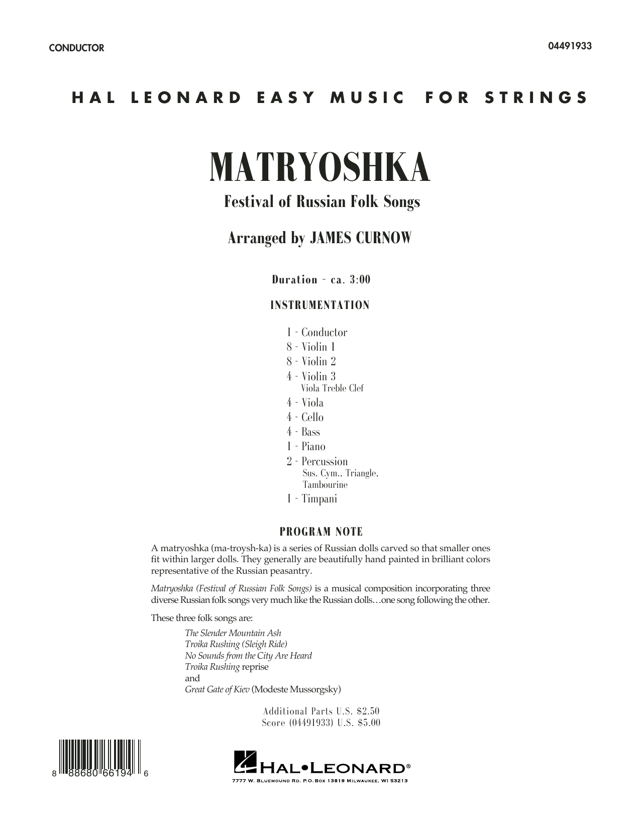 Matryoshka (Festival of Russian Folk Songs) (COMPLETE) sheet music for orchestra by James Curnow. Score Image Preview.
