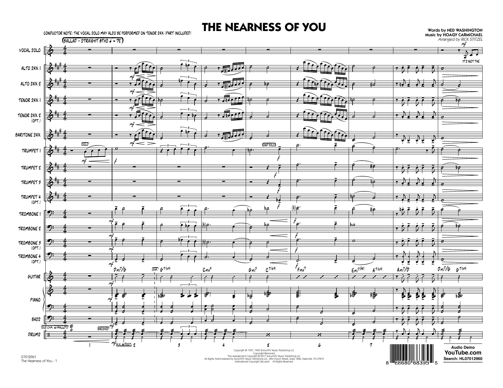 The Nearness of You (Key: C) (COMPLETE) sheet music for jazz band by Rick Stitzel, George Shearing, Hoagy Carmichael and Ned Washington. Score Image Preview.