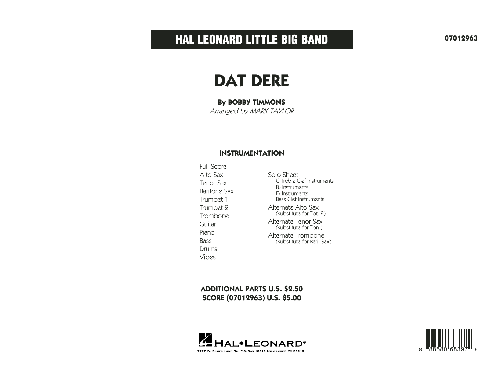 Dat Dere (COMPLETE) sheet music for jazz band by Mark Taylor, Bobby Timmons and Cannonball Adderley. Score Image Preview.