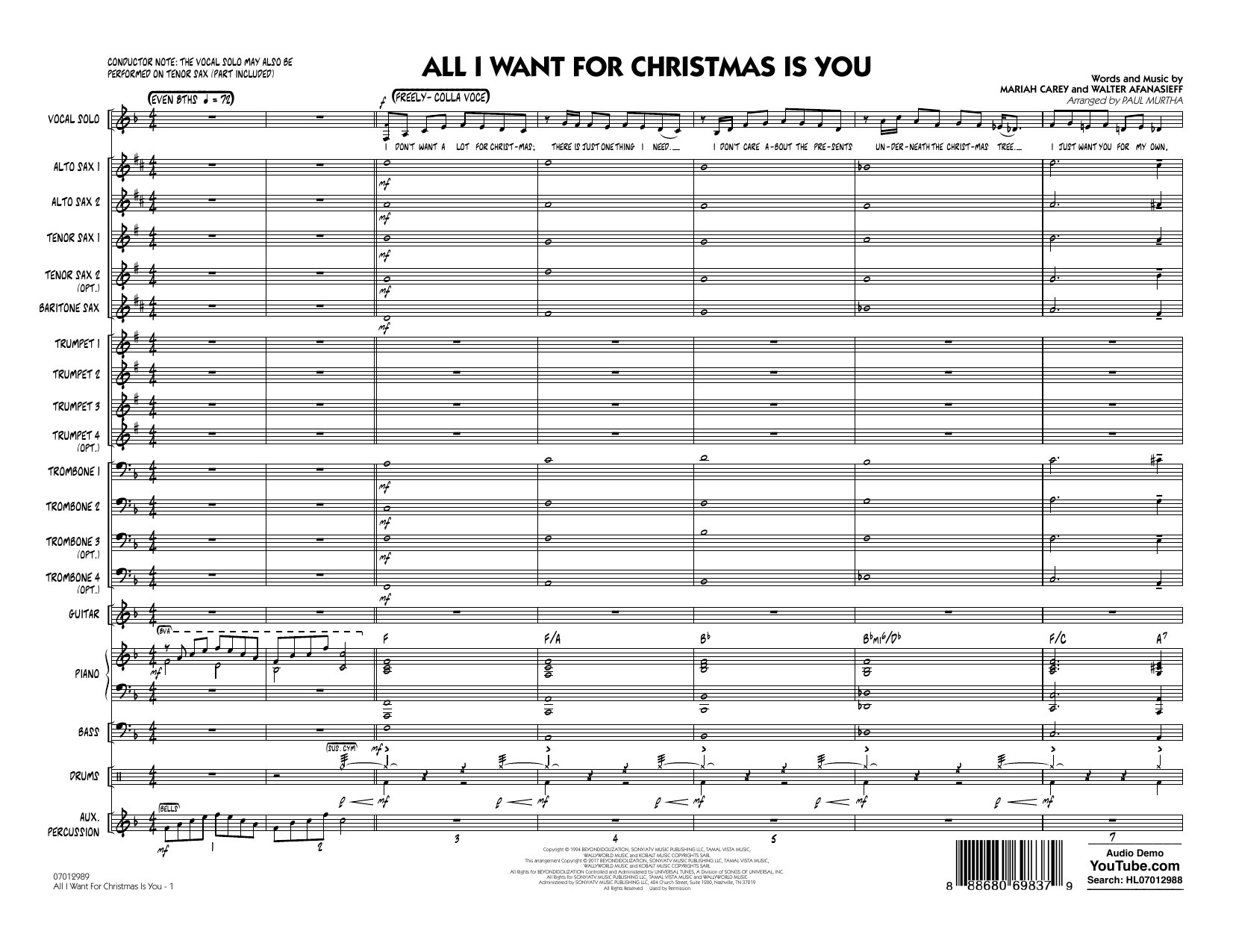All I Want for Christmas Is You (COMPLETE) sheet music for jazz band by Paul Murtha and Walter Afanasieff. Score Image Preview.