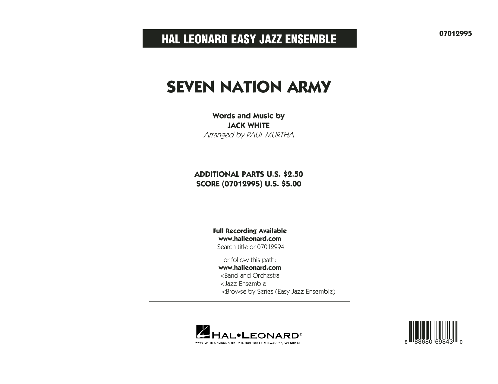 Seven Nation Army (COMPLETE) sheet music for jazz band by Paul Murtha, Jack White, The White Stripes and White Stripes. Score Image Preview.