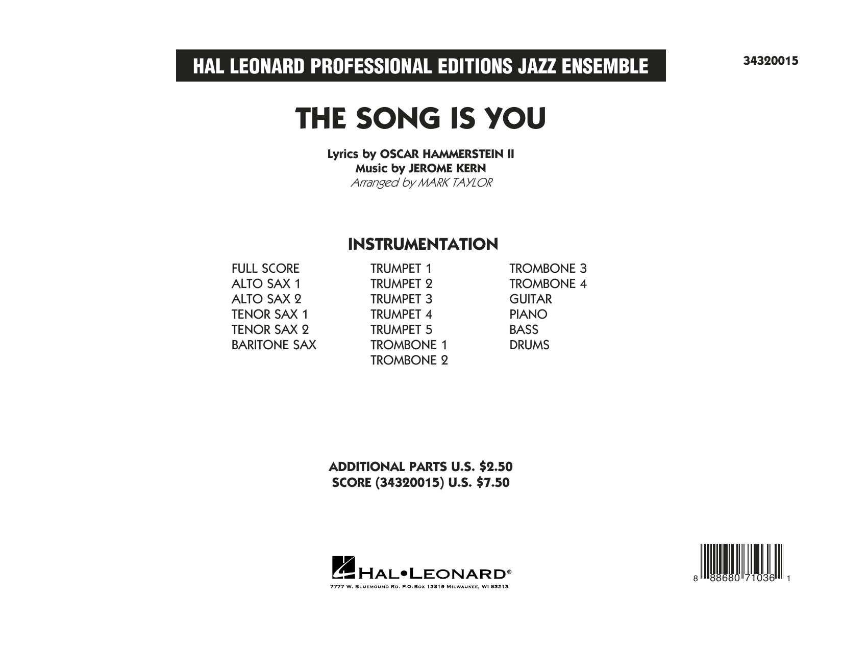 The Song Is You (COMPLETE) sheet music for jazz band by Oscar II Hammerstein, Jerome Kern and Mark Taylor. Score Image Preview.