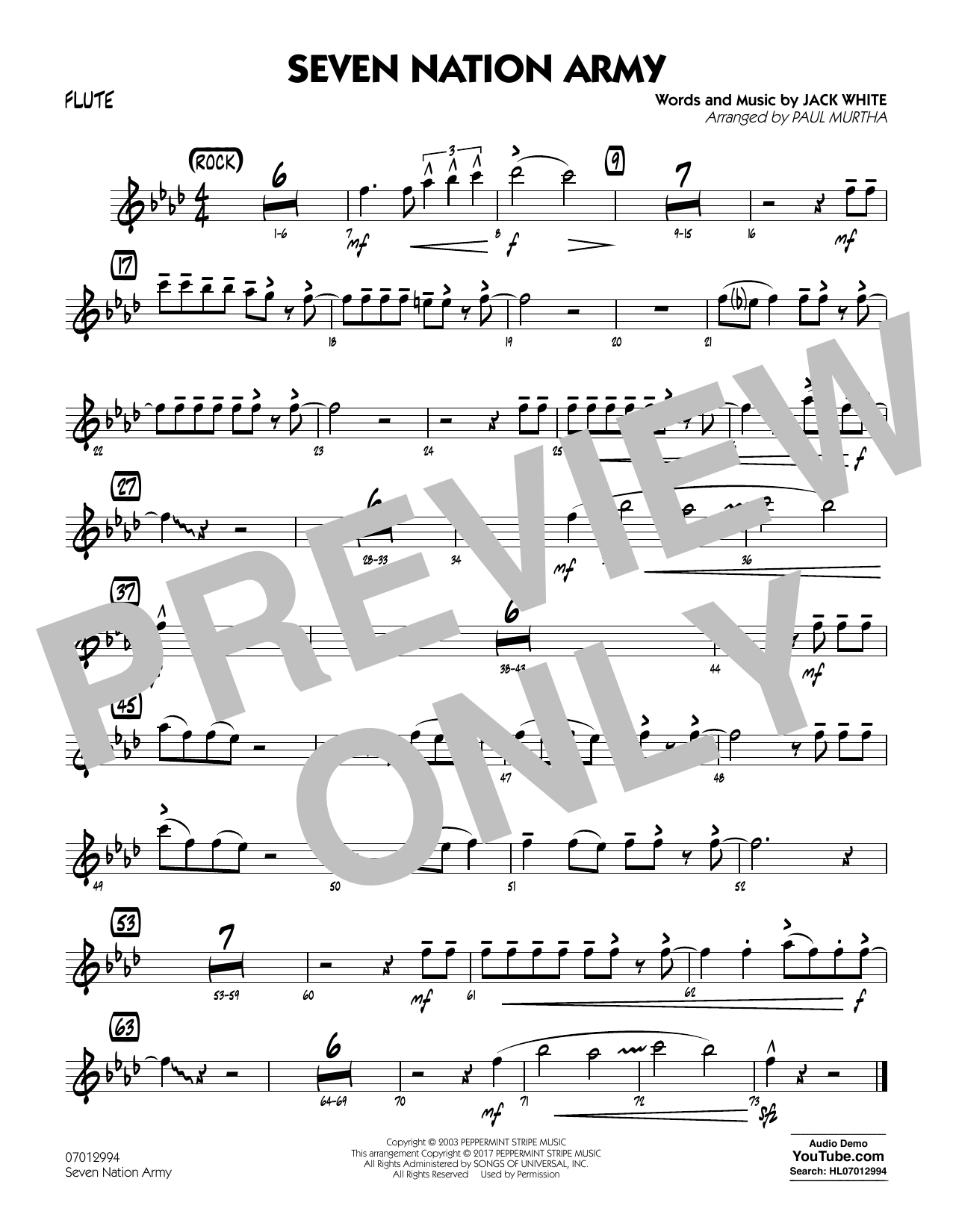 Seven Nation Army - Flute atStanton's Sheet Music