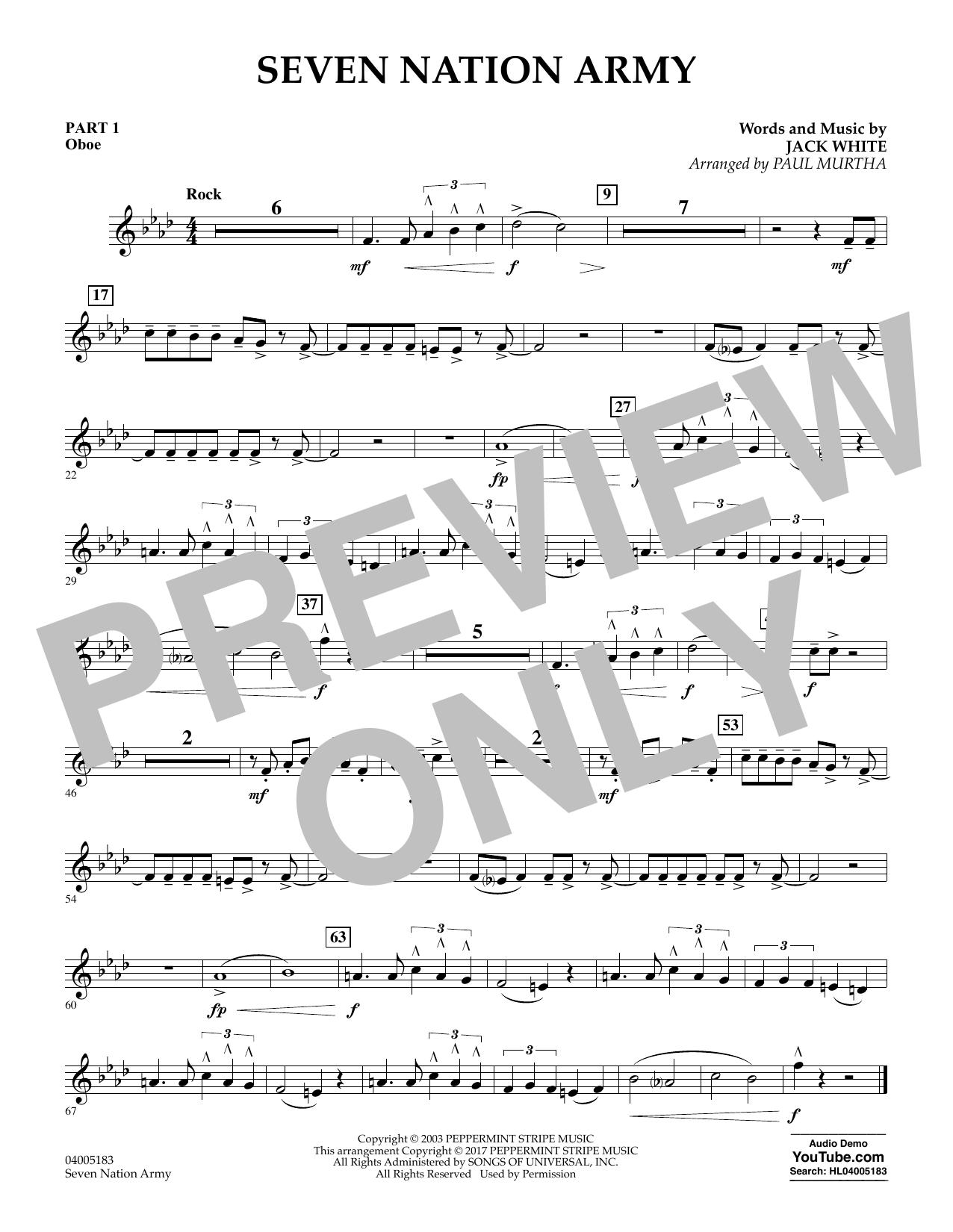Seven Nation Army - Pt.1 - Oboe (Concert Band: Flex-Band)