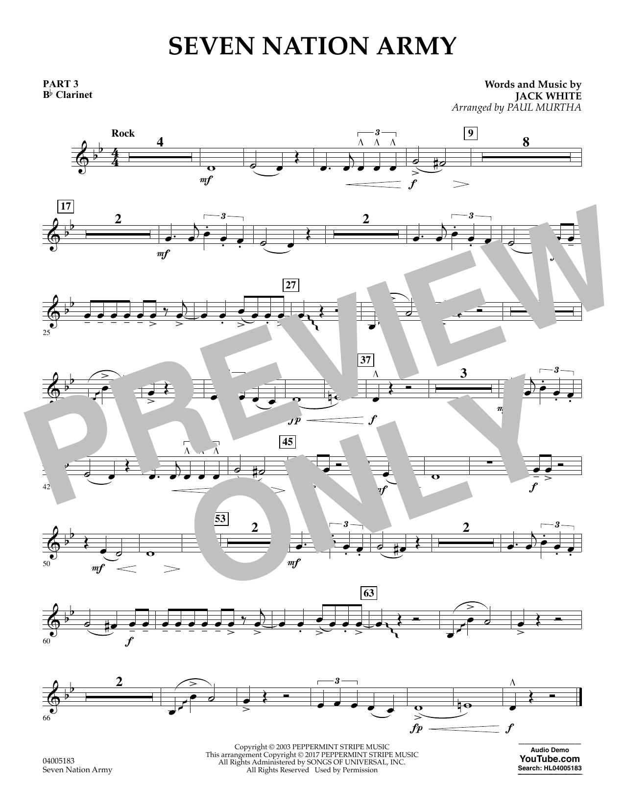 Seven Nation Army - Pt.3 - Bb Clarinet (Concert Band: Flex-Band)