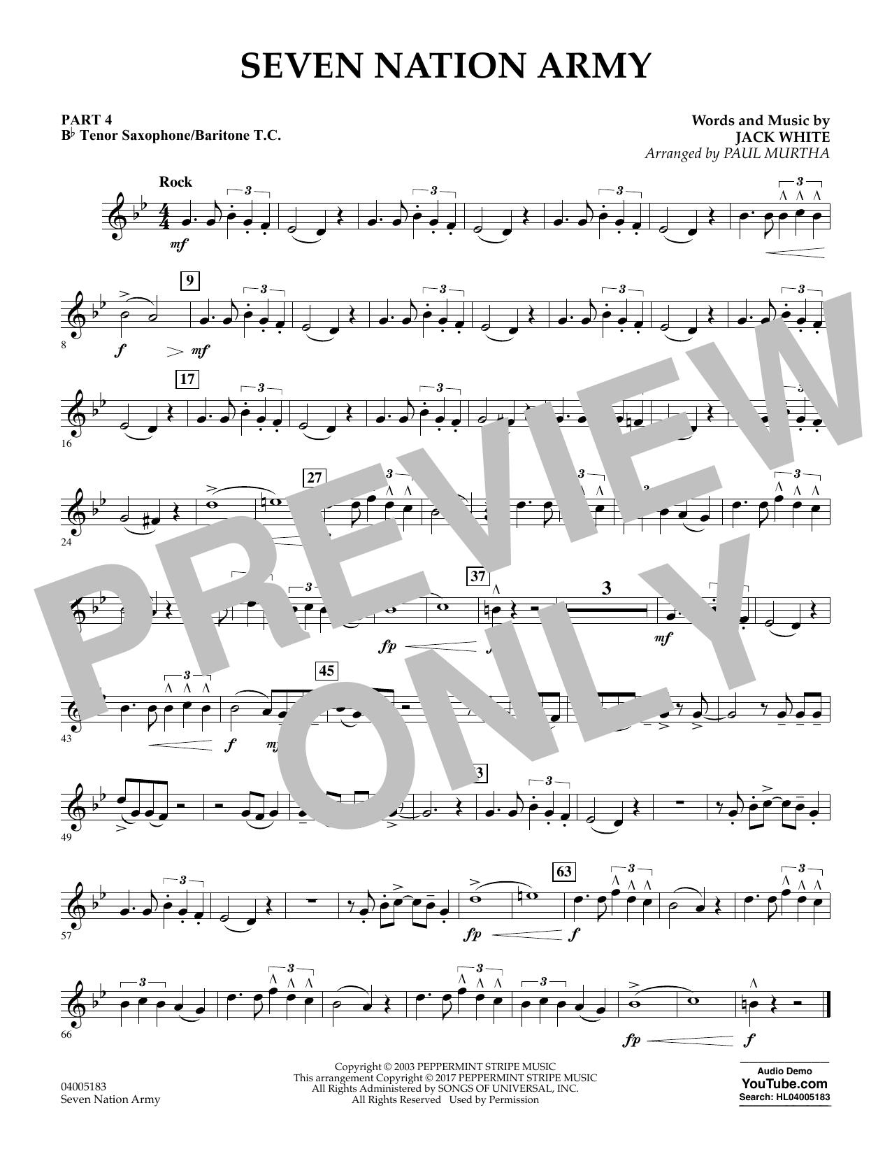 Seven Nation Army - Pt.4 - Bb Tenor Sax/Bar. T.C. (Concert Band: Flex-Band)