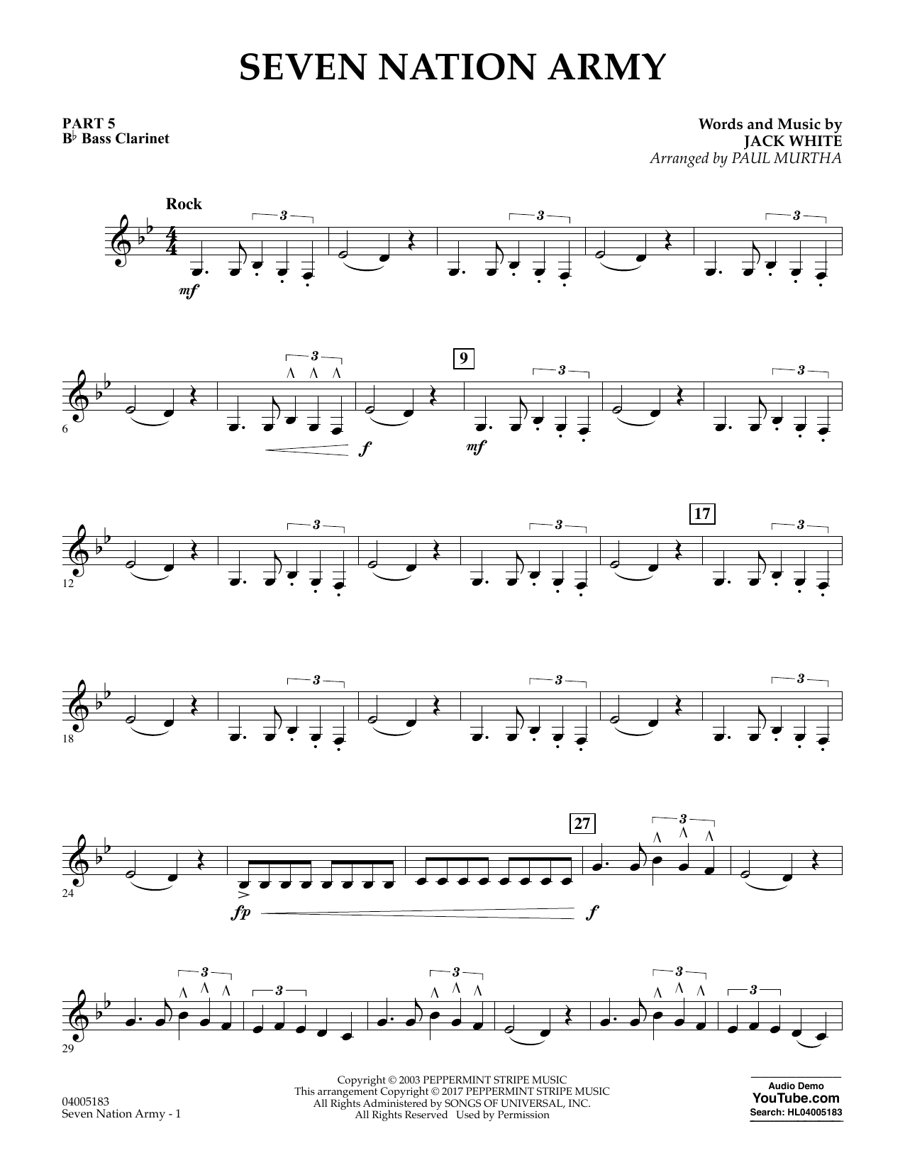 Seven Nation Army Pt5 Bb Bass Clarinet At Stantons Sheet Music