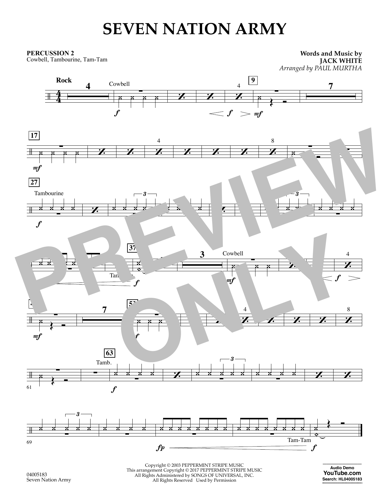 Seven Nation Army - Percussion 2 (Concert Band: Flex-Band)