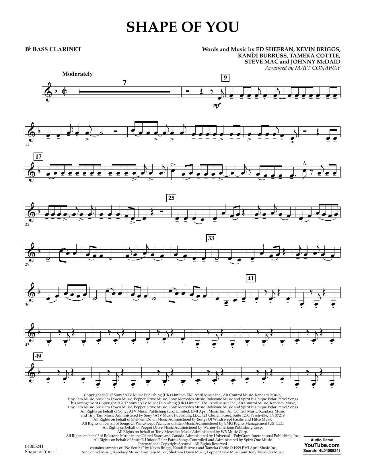 Shape of You - Bb Bass Clarinet (Concert Band)