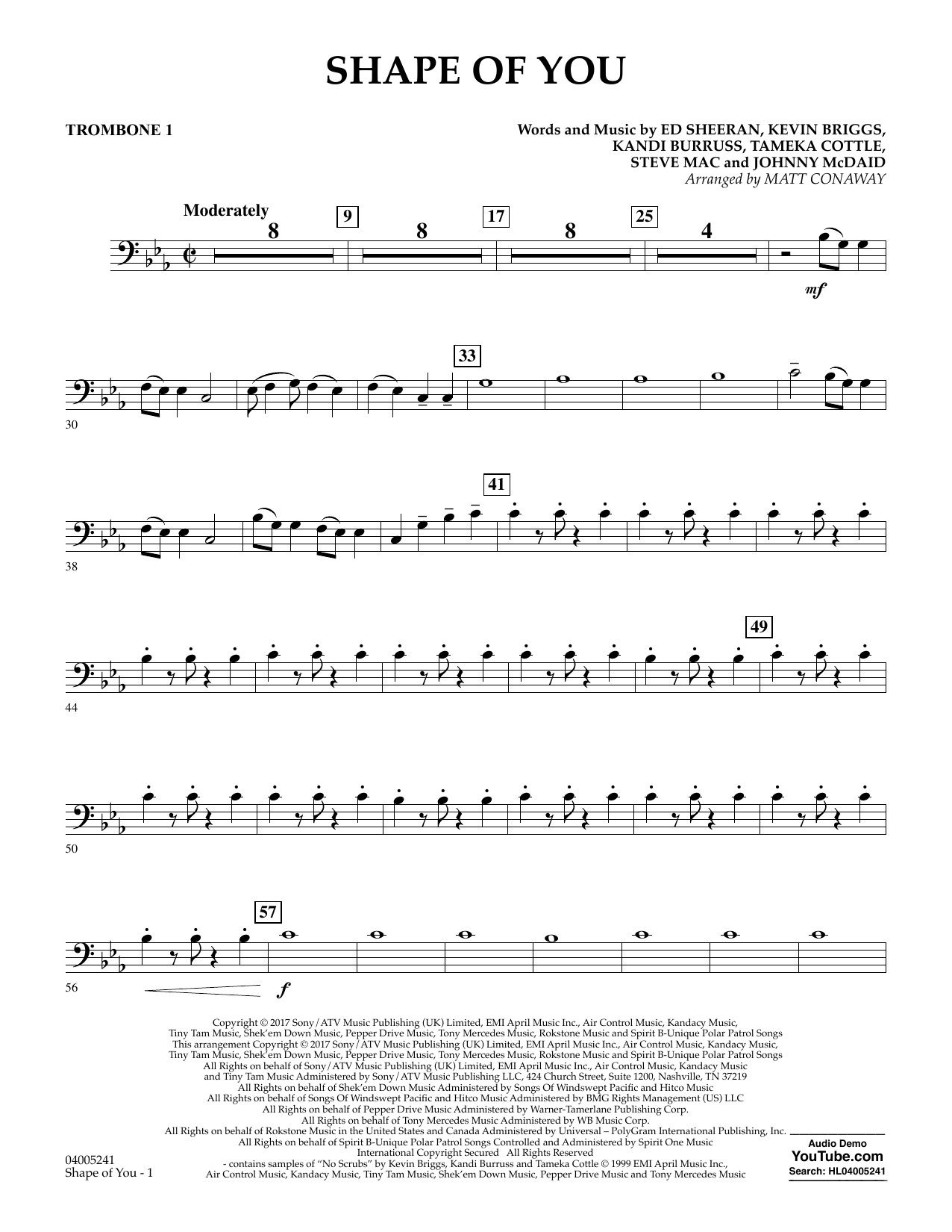 Shape of You - Trombone 1 (Concert Band)