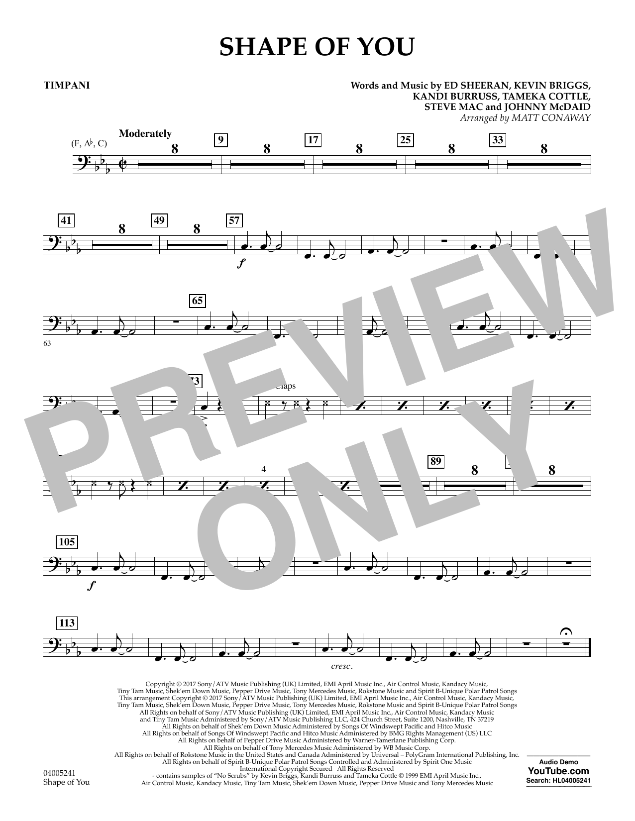 Shape of You - Timpani (Concert Band)