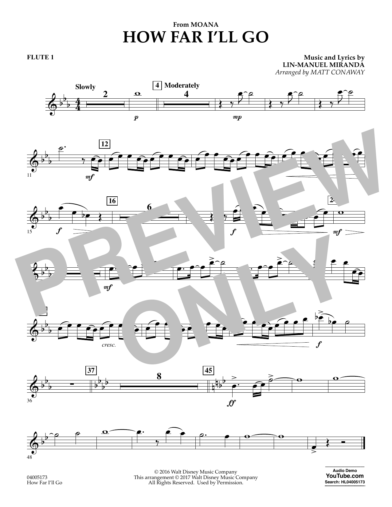 How Far I'll Go (from Moana) - Flute 1 (Concert Band)