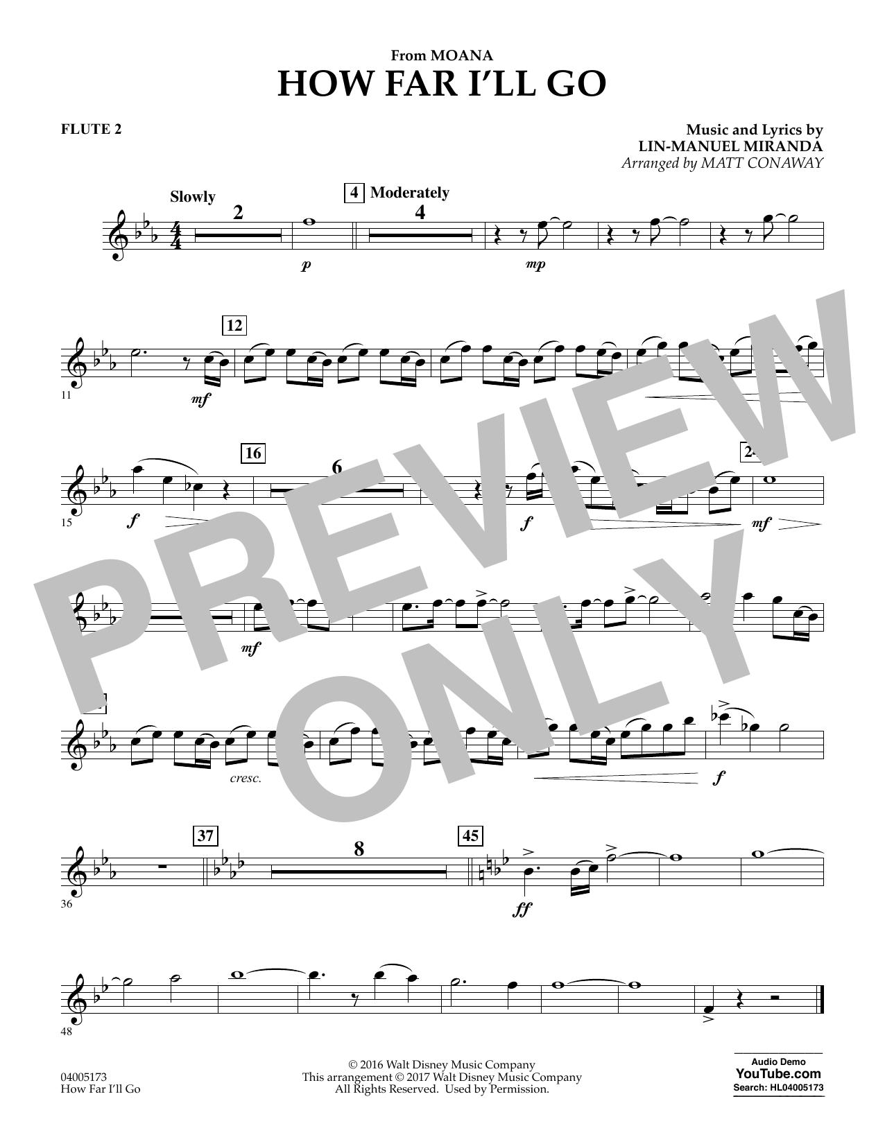 How Far I'll Go (from Moana) - Flute 2 (Concert Band)