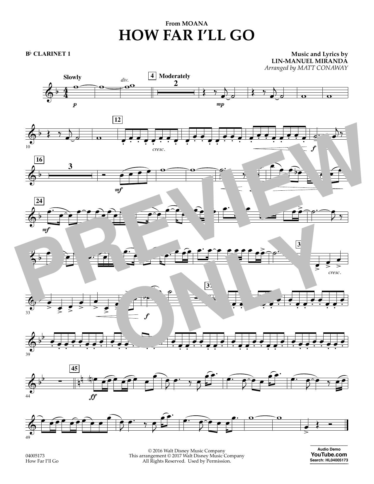 How Far Ill Go From Moana Bb Clarinet 1 Sheet Music