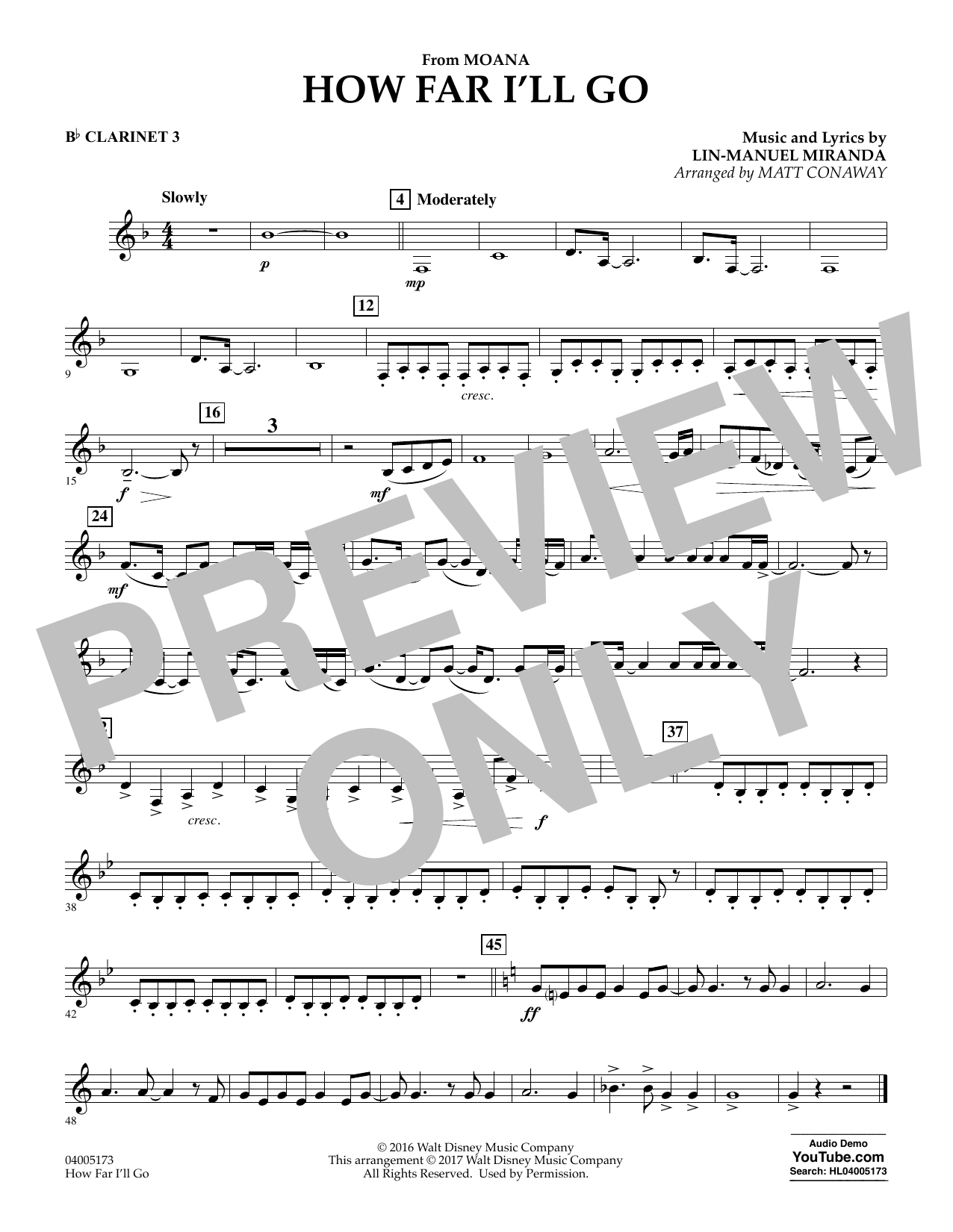 How Far I'll Go (from Moana) - Bb Clarinet 3 (Concert Band)