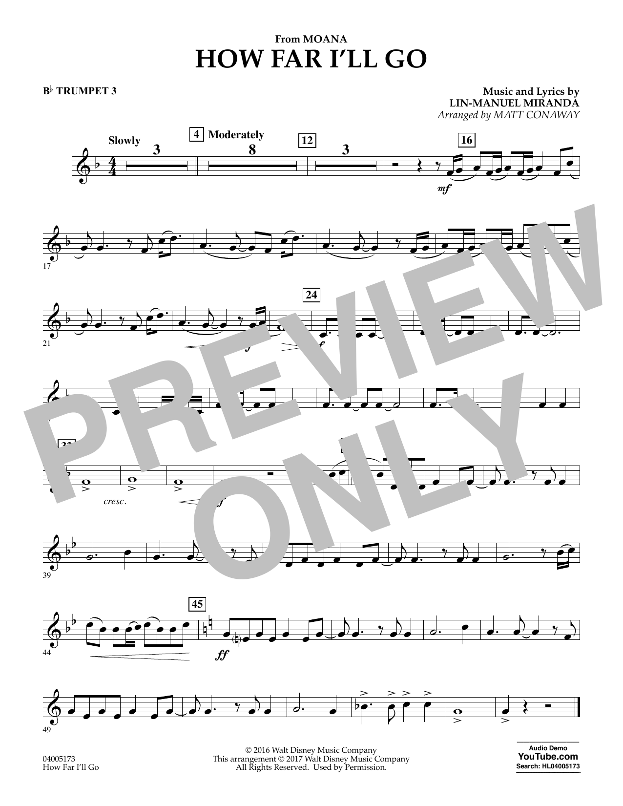 How Far I'll Go (from Moana) - Bb Trumpet 3 (Concert Band)
