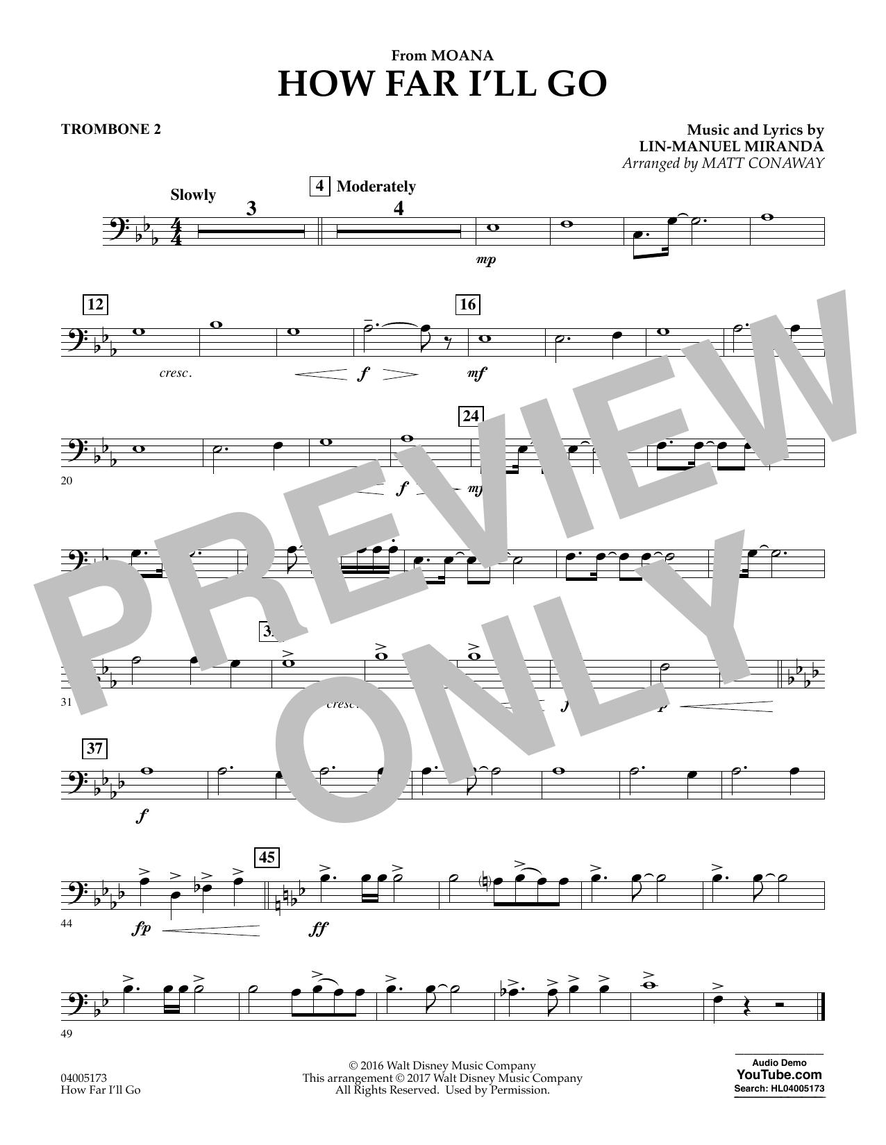 How Far I'll Go (from Moana) - Trombone 2 (Concert Band)