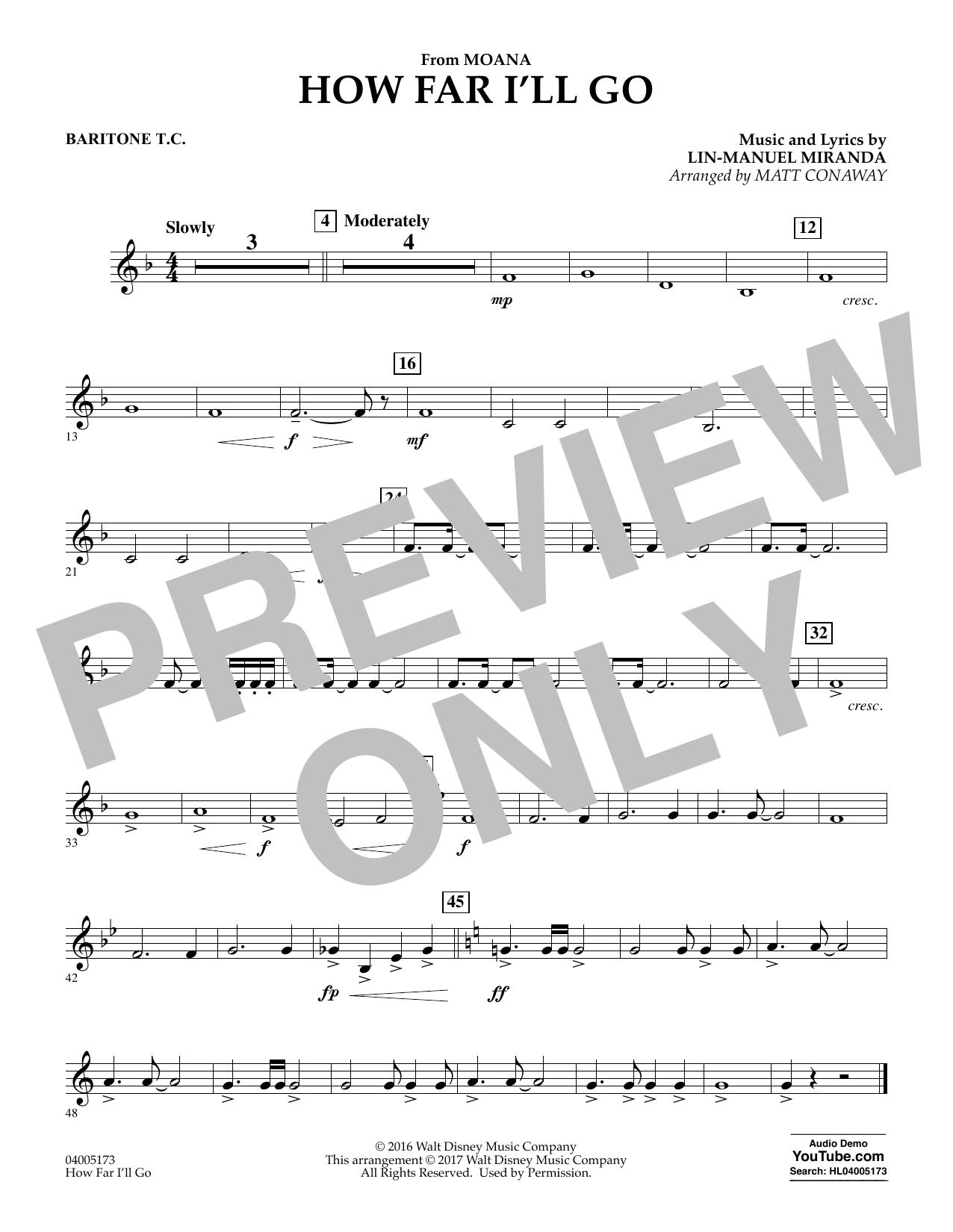 How Far I'll Go (from Moana) - Baritone T.C. (Concert Band)
