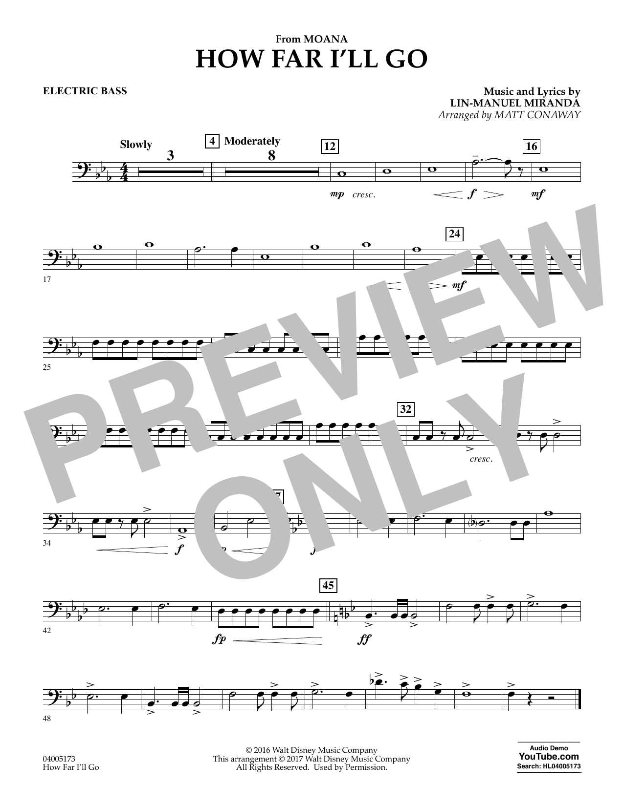How Far I'll Go (from Moana) - Electric Bass (Concert Band)