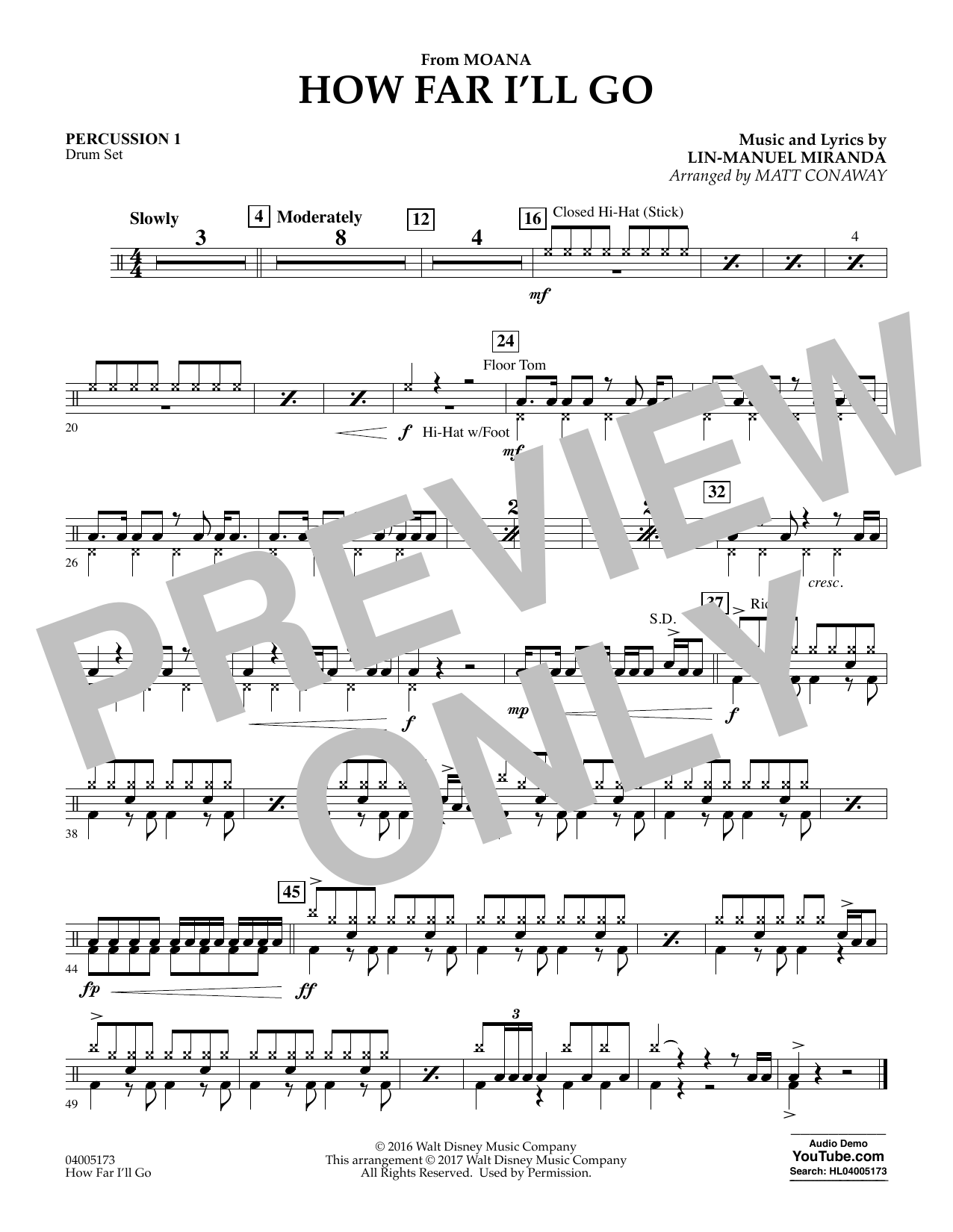 How Far I'll Go (from Moana) - Percussion 1 (Concert Band)