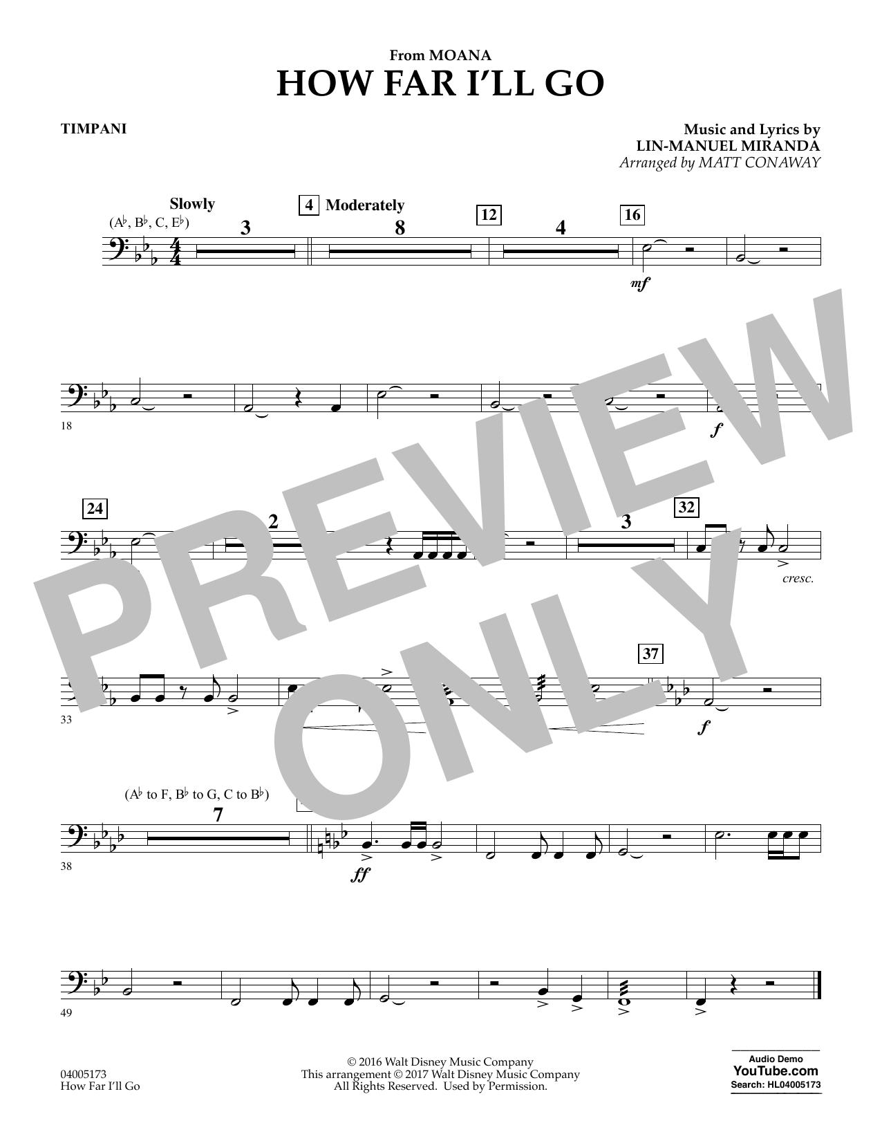 How Far I'll Go (from Moana) - Timpani (Concert Band)