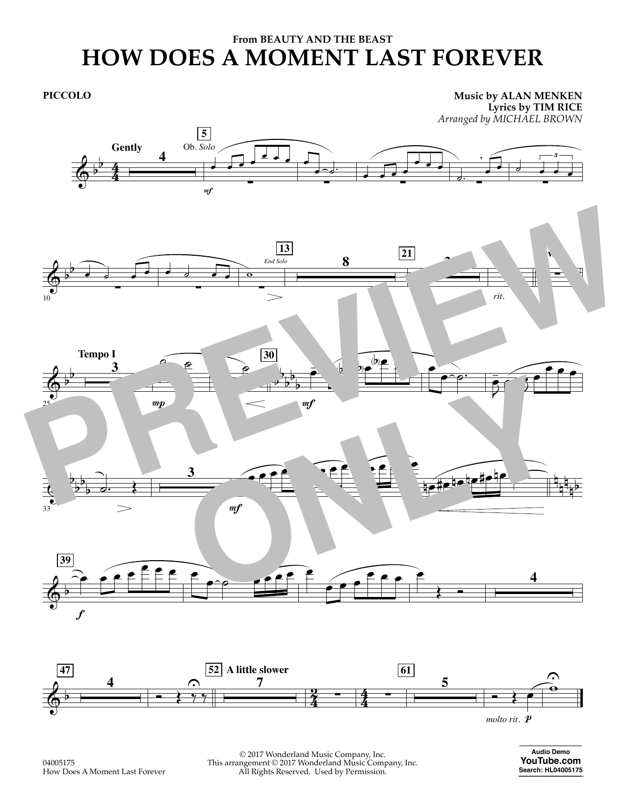 How Does a Moment Last Forever (from Beauty and the Beast) - Piccolo (Concert Band)