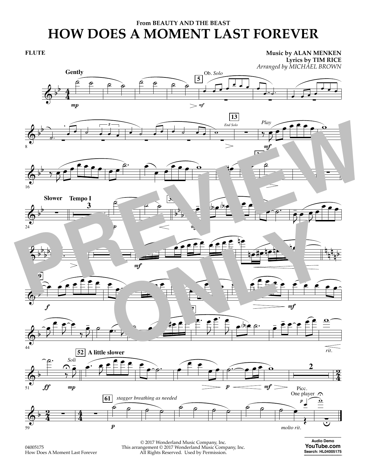 How Does a Moment Last Forever (from Beauty and the Beast) - Flute (Concert Band)