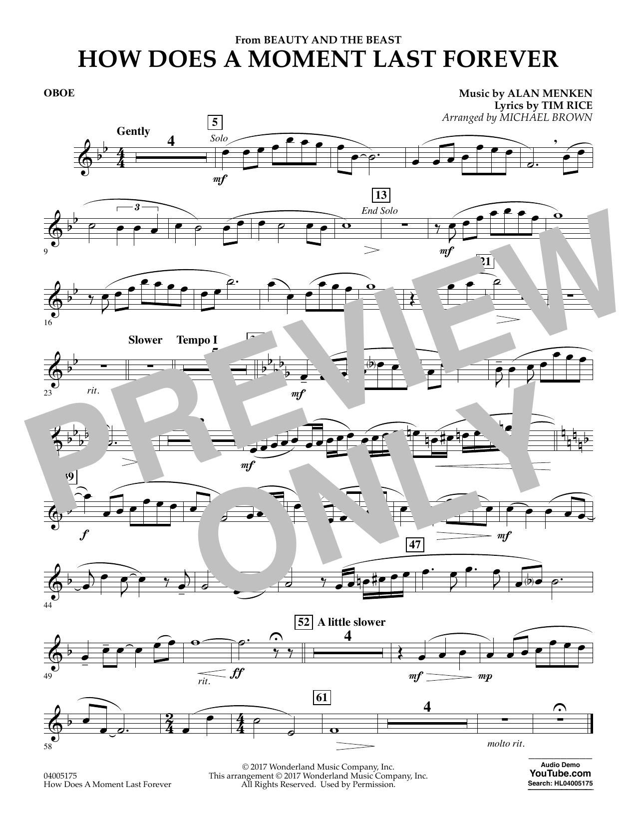 How Does a Moment Last Forever (from Beauty and the Beast) - Oboe (Concert Band)