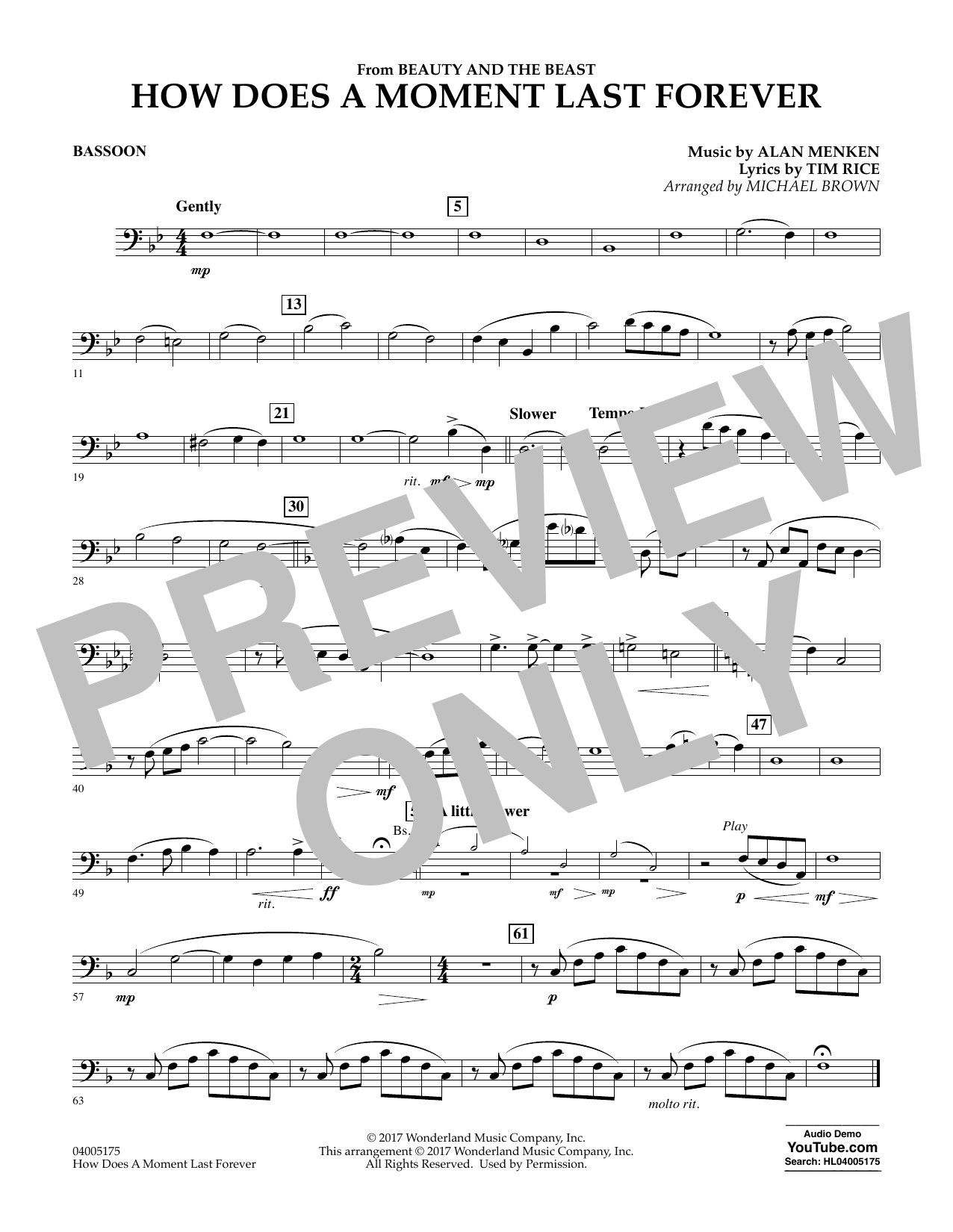 How Does a Moment Last Forever (from Beauty and the Beast) - Bassoon (Concert Band)