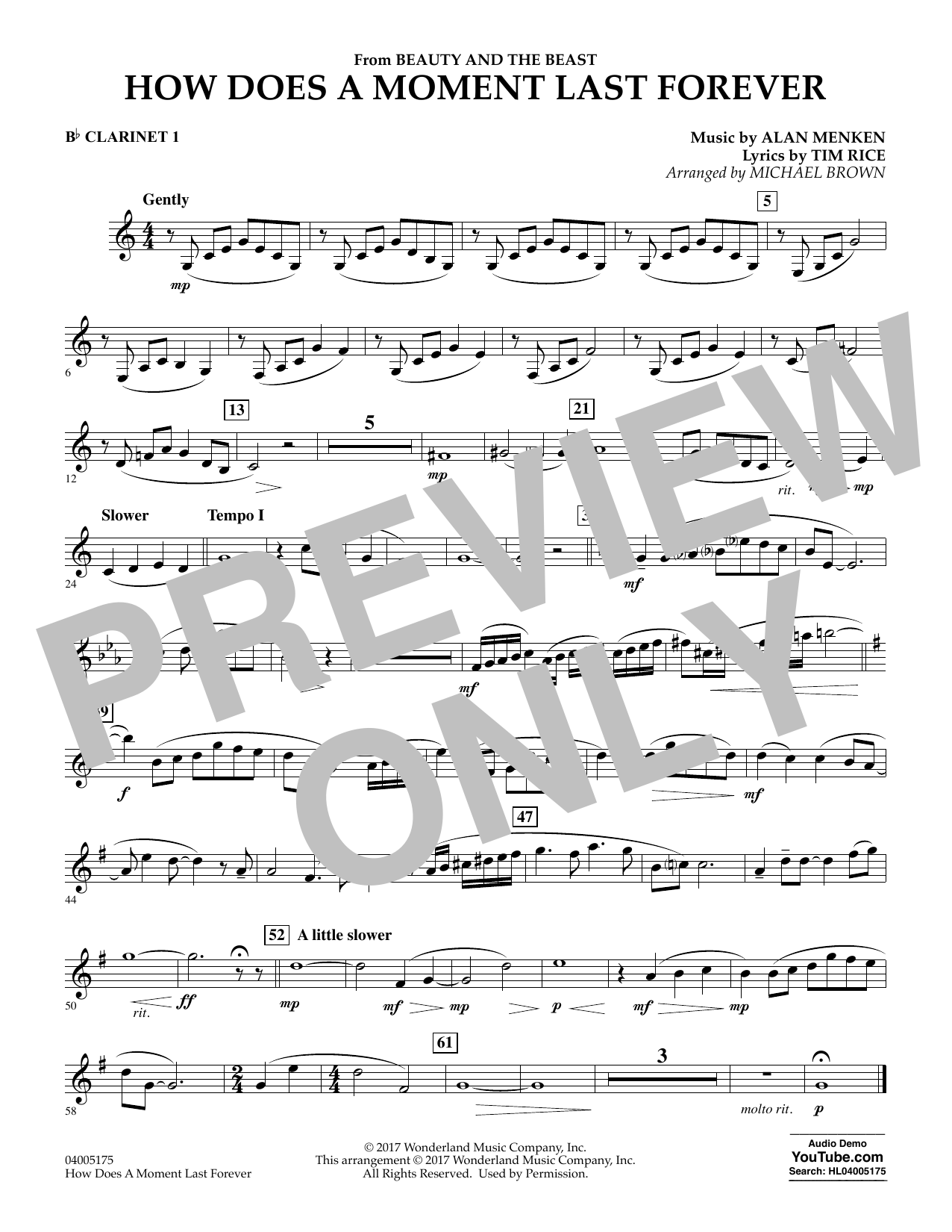 How Does a Moment Last Forever (from Beauty and the Beast) - Bb Clarinet 1 (Concert Band)