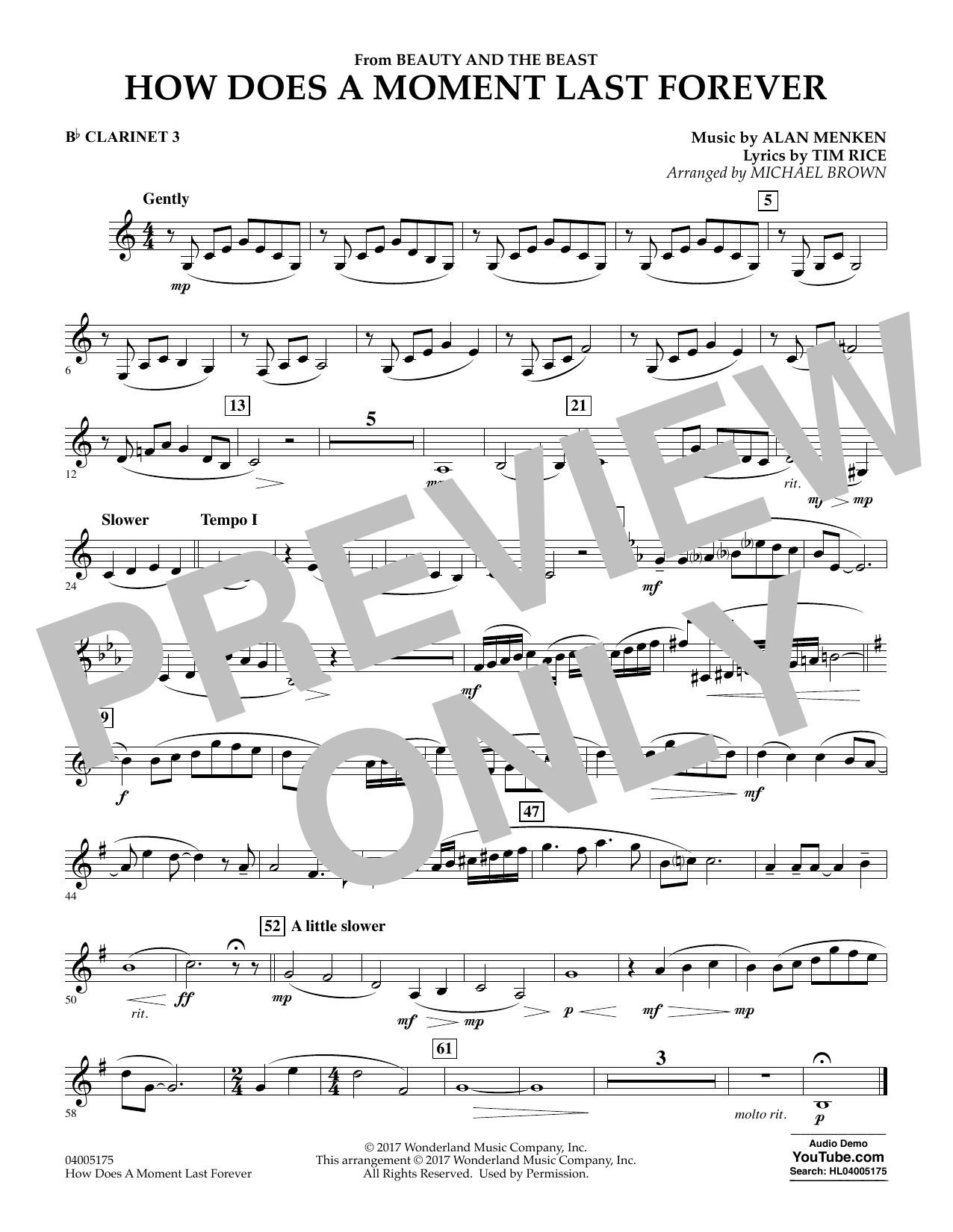 How Does a Moment Last Forever (from Beauty and the Beast) - Bb Clarinet 3 (Concert Band)