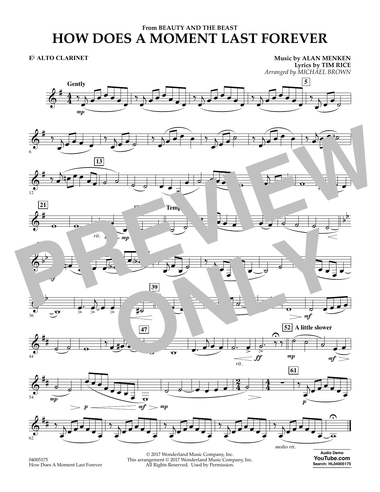 How Does a Moment Last Forever (from Beauty and the Beast) - Eb Alto Clarinet (Concert Band)