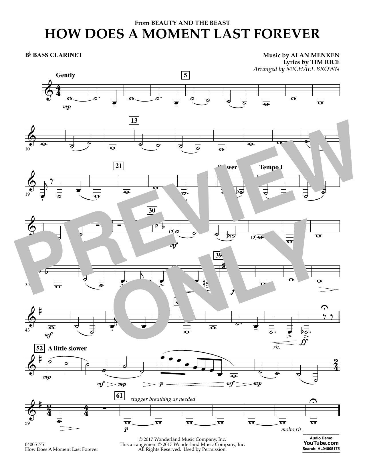 How Does a Moment Last Forever (from Beauty and the Beast) - Bb Bass Clarinet (Concert Band)