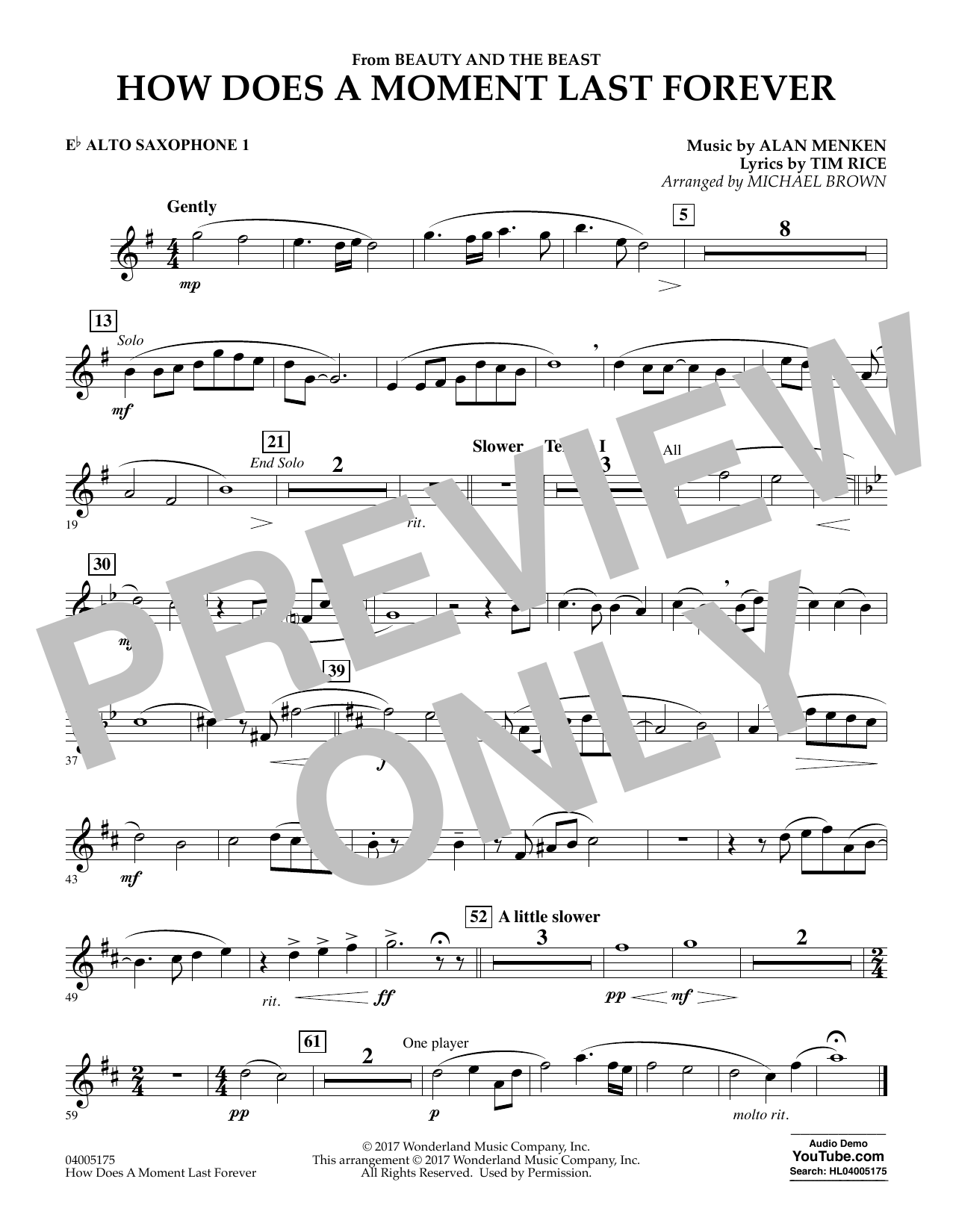 How Does a Moment Last Forever (from Beauty and the Beast) - Eb Alto Saxophone 1 (Concert Band)