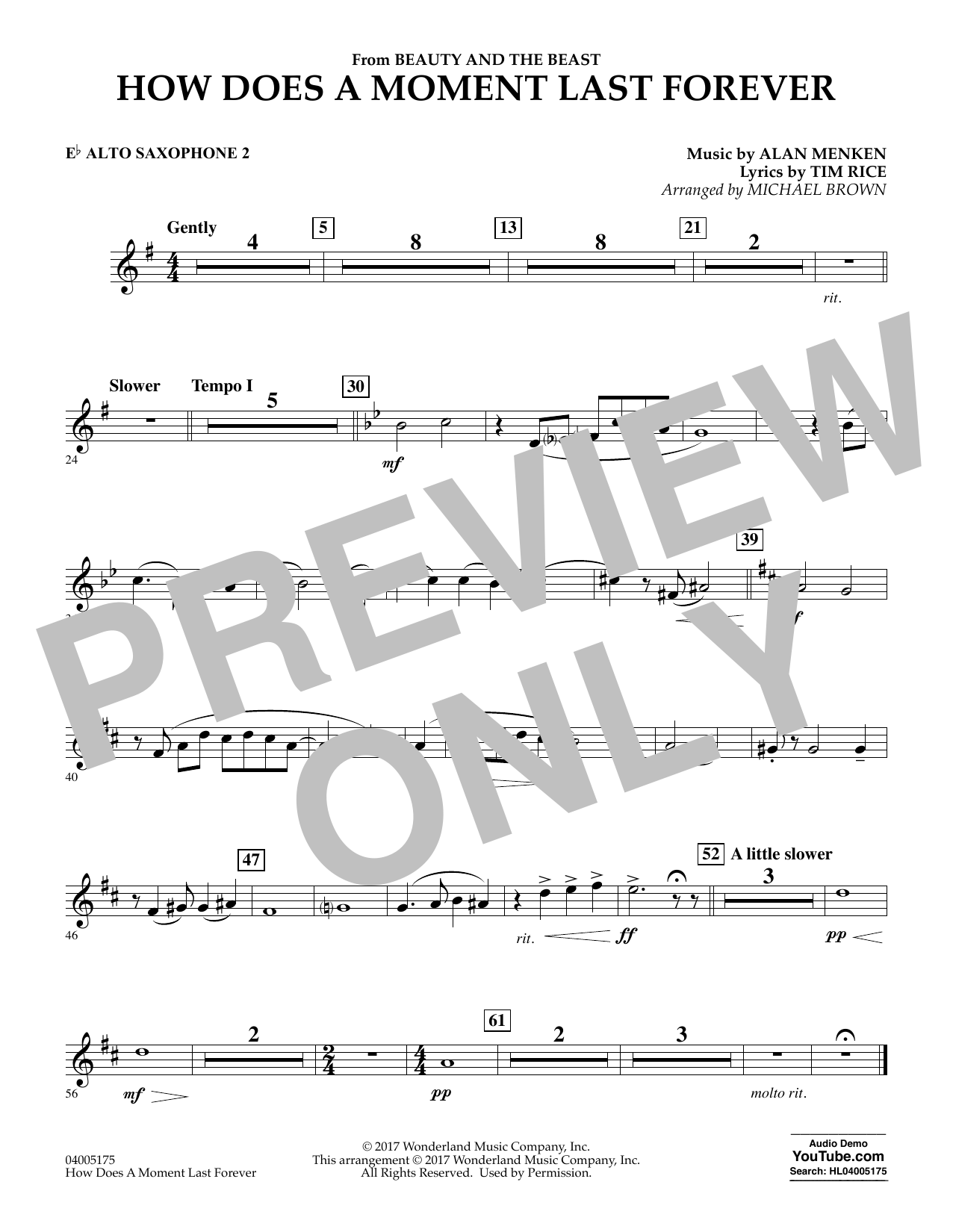 How Does a Moment Last Forever (from Beauty and the Beast) - Eb Alto Saxophone 2 (Concert Band)