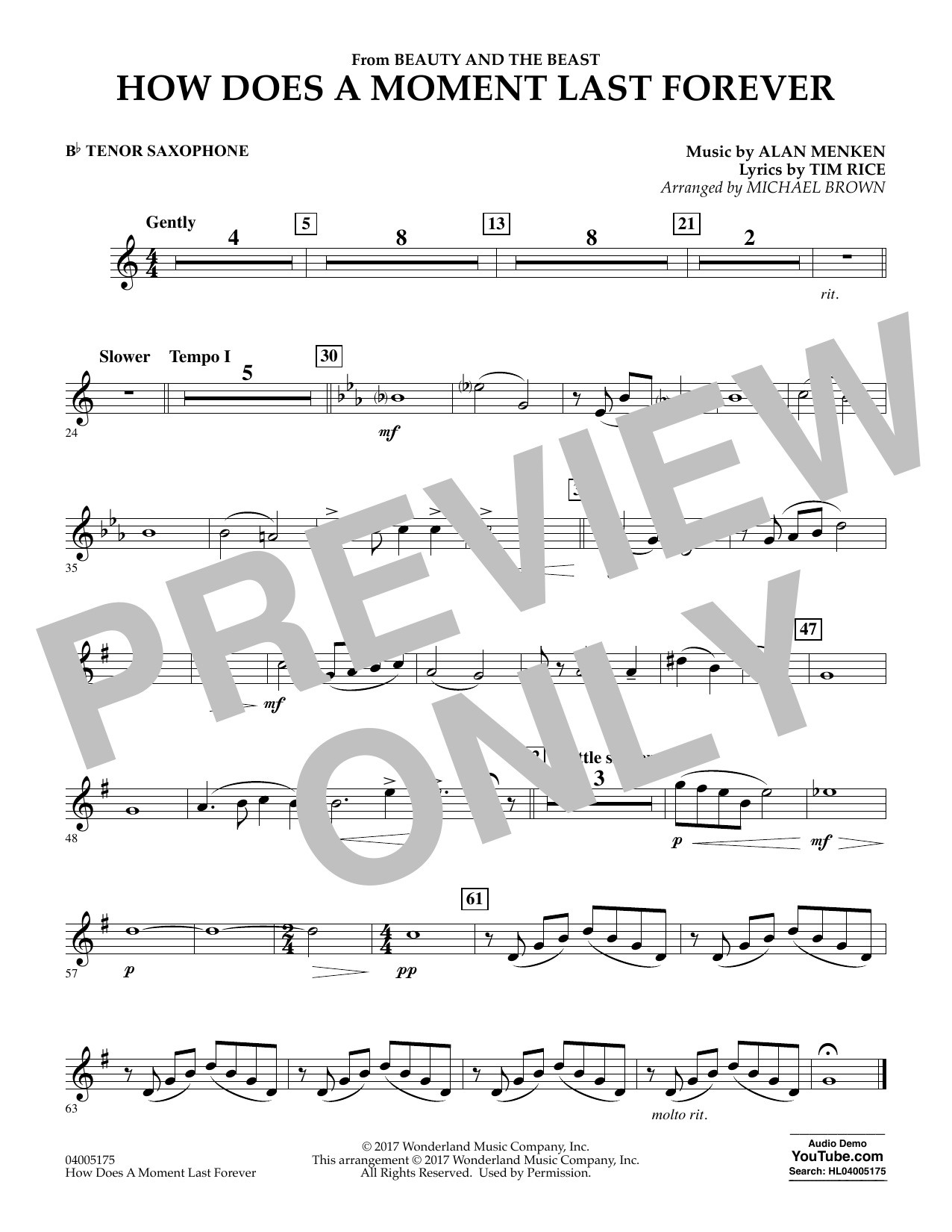 How Does a Moment Last Forever (from Beauty and the Beast) - Bb Tenor Saxophone (Concert Band)