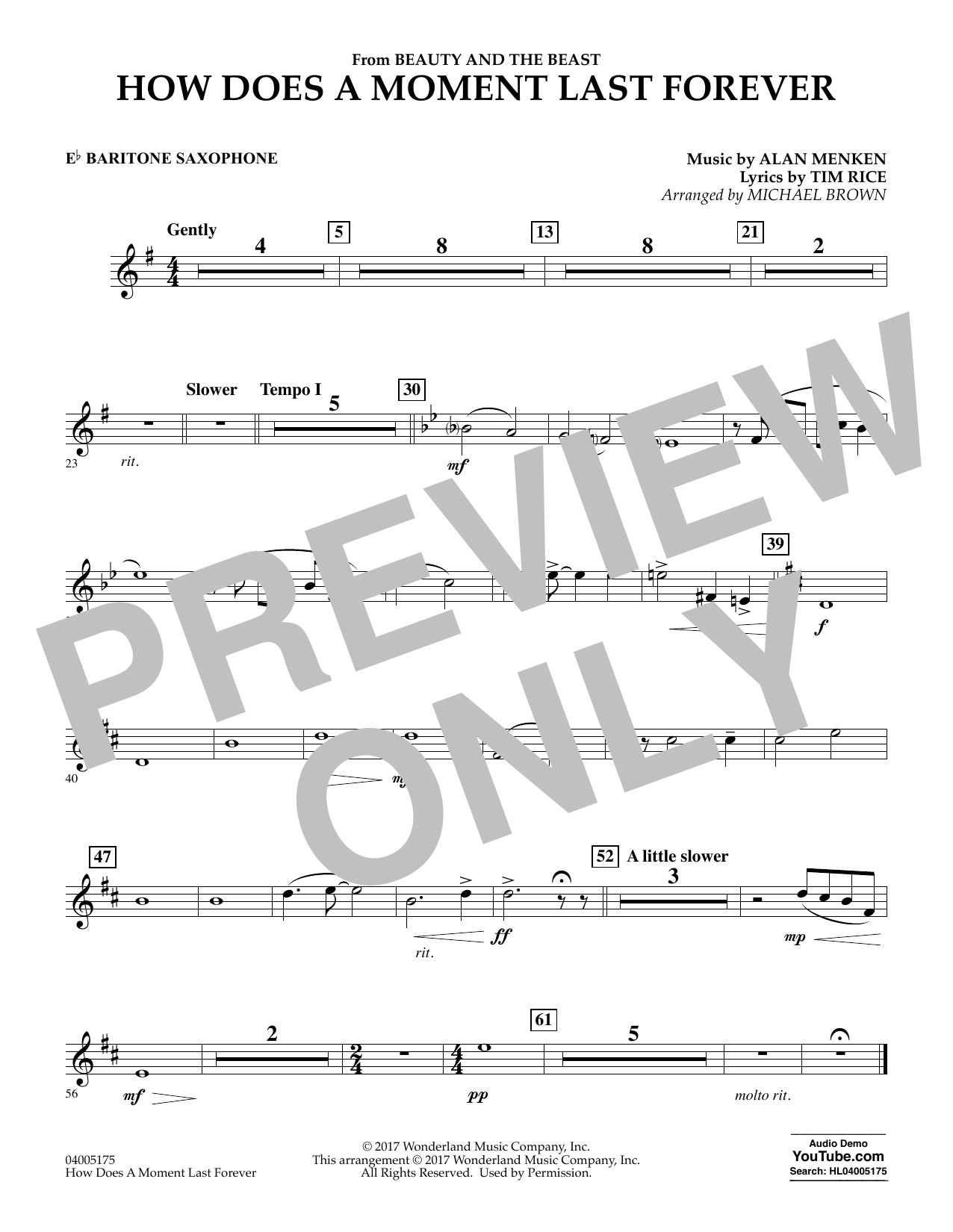 How Does a Moment Last Forever (from Beauty and the Beast) - Eb Baritone Saxophone (Concert Band)