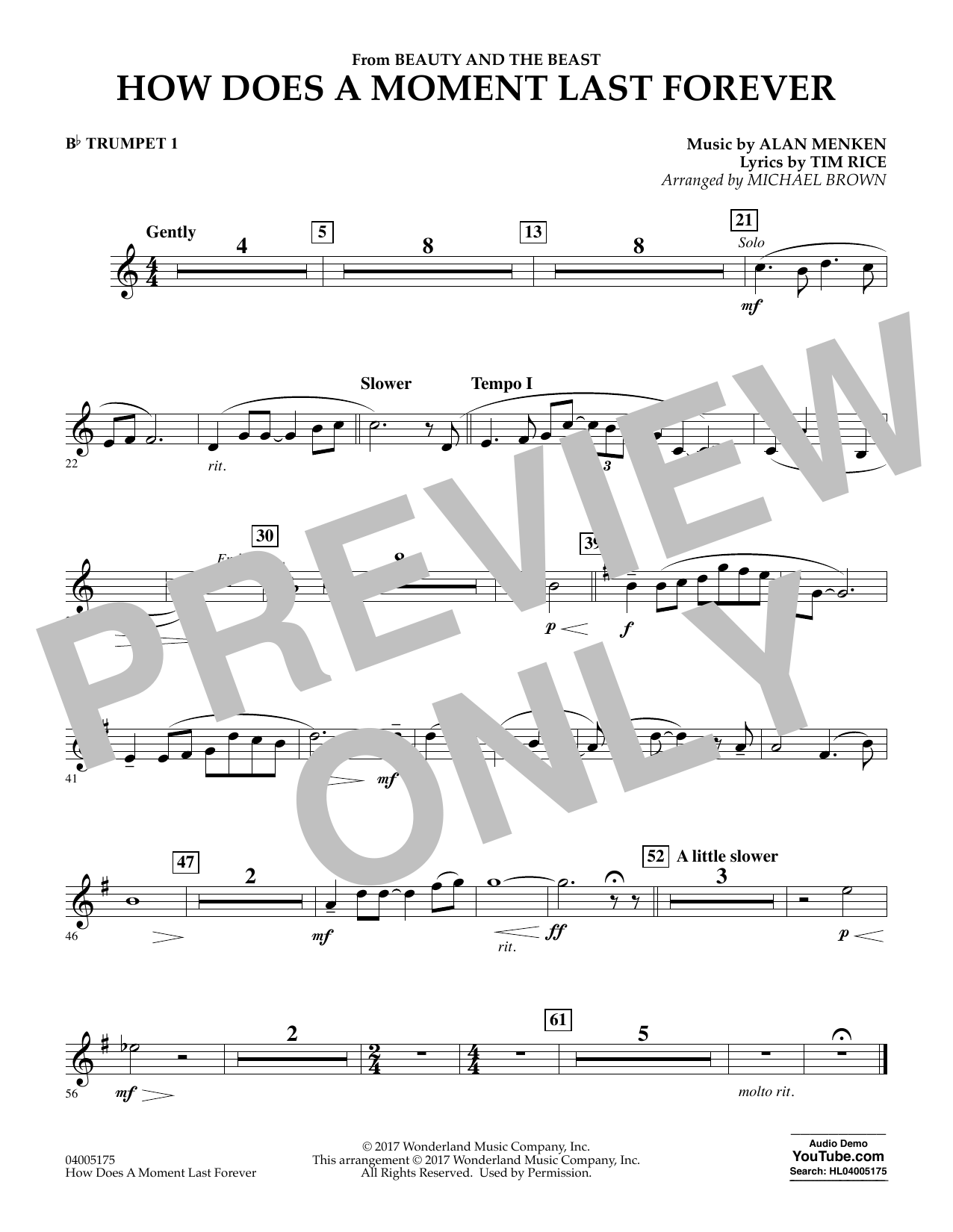 How Does a Moment Last Forever (from Beauty and the Beast) - Bb Trumpet 1 (Concert Band)