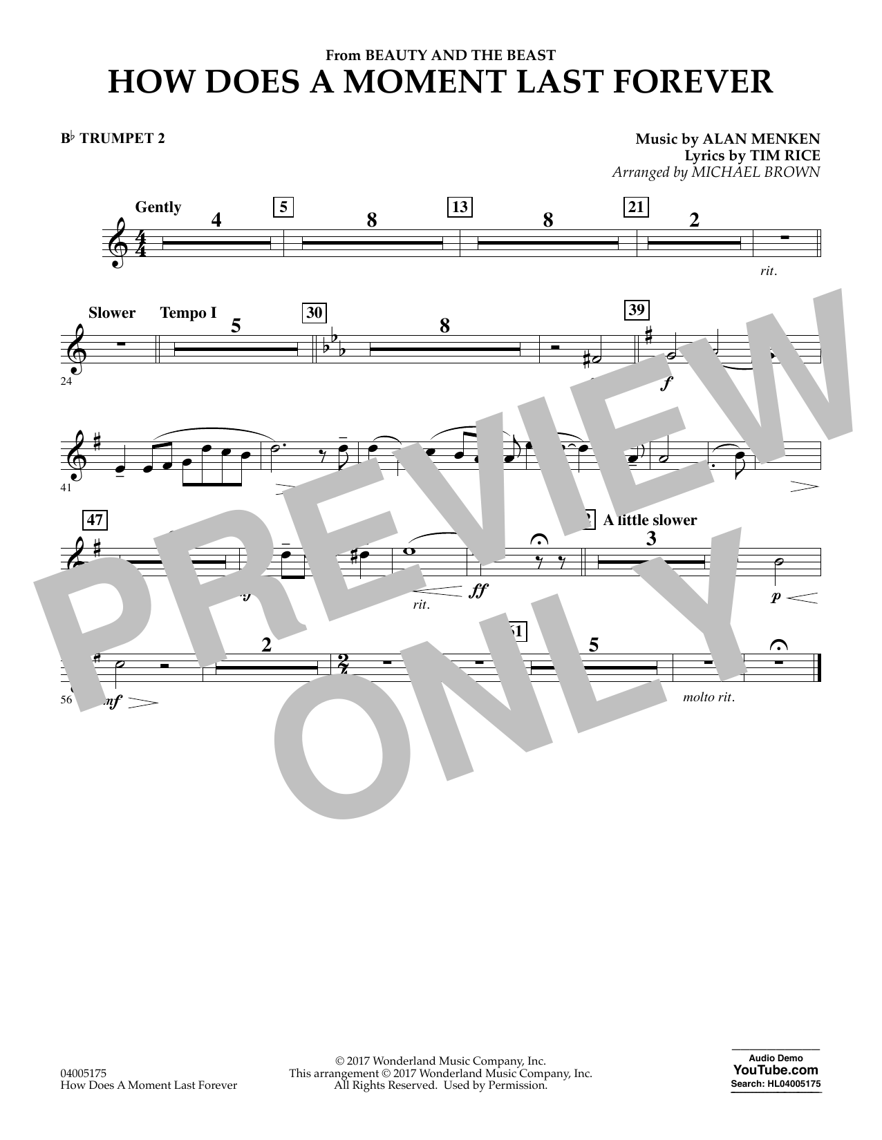 How Does a Moment Last Forever (from Beauty and the Beast) - Bb Trumpet 2 (Concert Band)