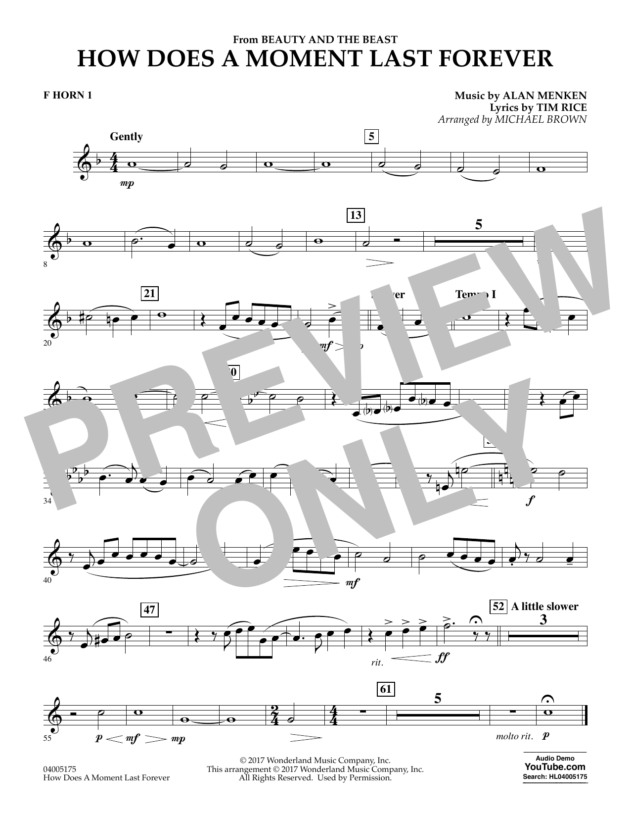 How Does a Moment Last Forever (from Beauty and the Beast) - F Horn 1 (Concert Band)