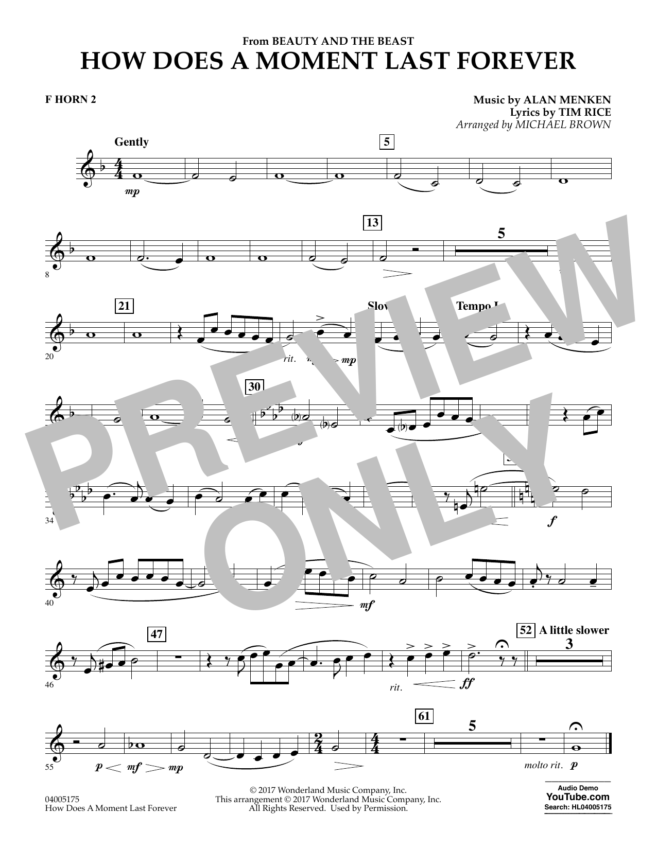 How Does a Moment Last Forever (from Beauty and the Beast) - F Horn 2 (Concert Band)