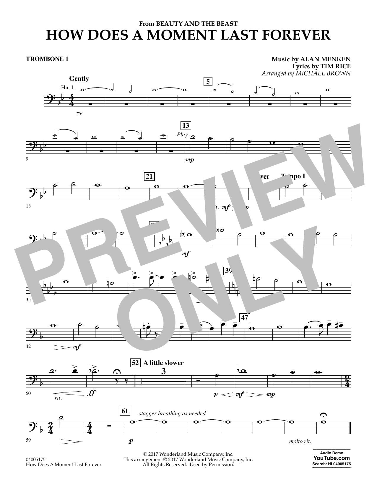 How Does a Moment Last Forever (from Beauty and the Beast) - Trombone 1 (Concert Band)