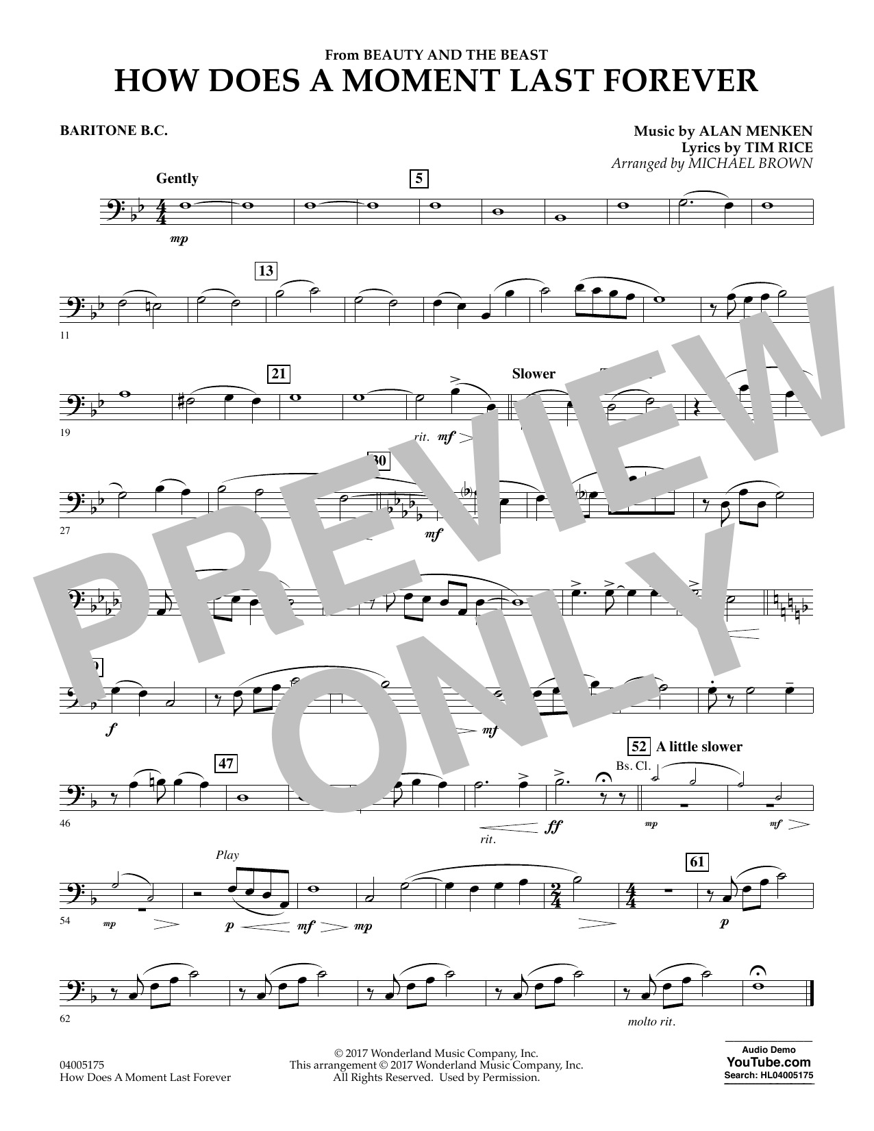 How Does a Moment Last Forever (from Beauty and the Beast) - Baritone B.C. (Concert Band)