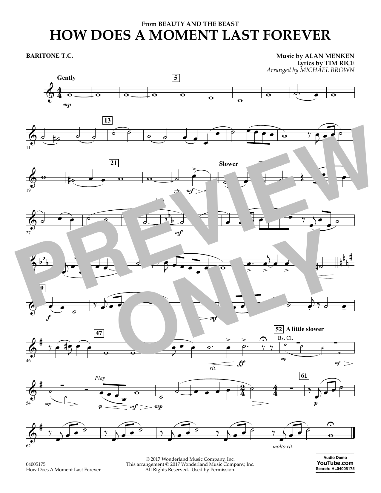How Does a Moment Last Forever (from Beauty and the Beast) - Baritone T.C. (Concert Band)