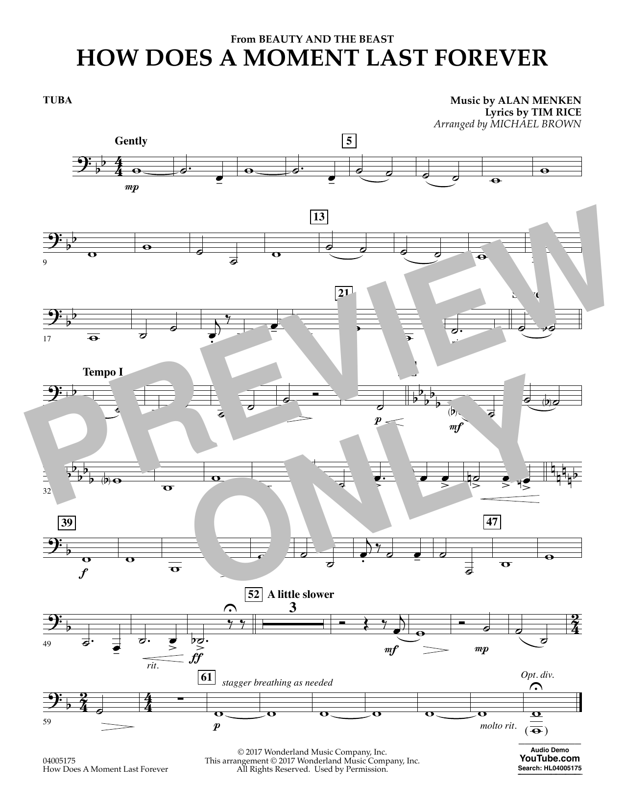 How Does a Moment Last Forever (from Beauty and the Beast) - Tuba (Concert Band)